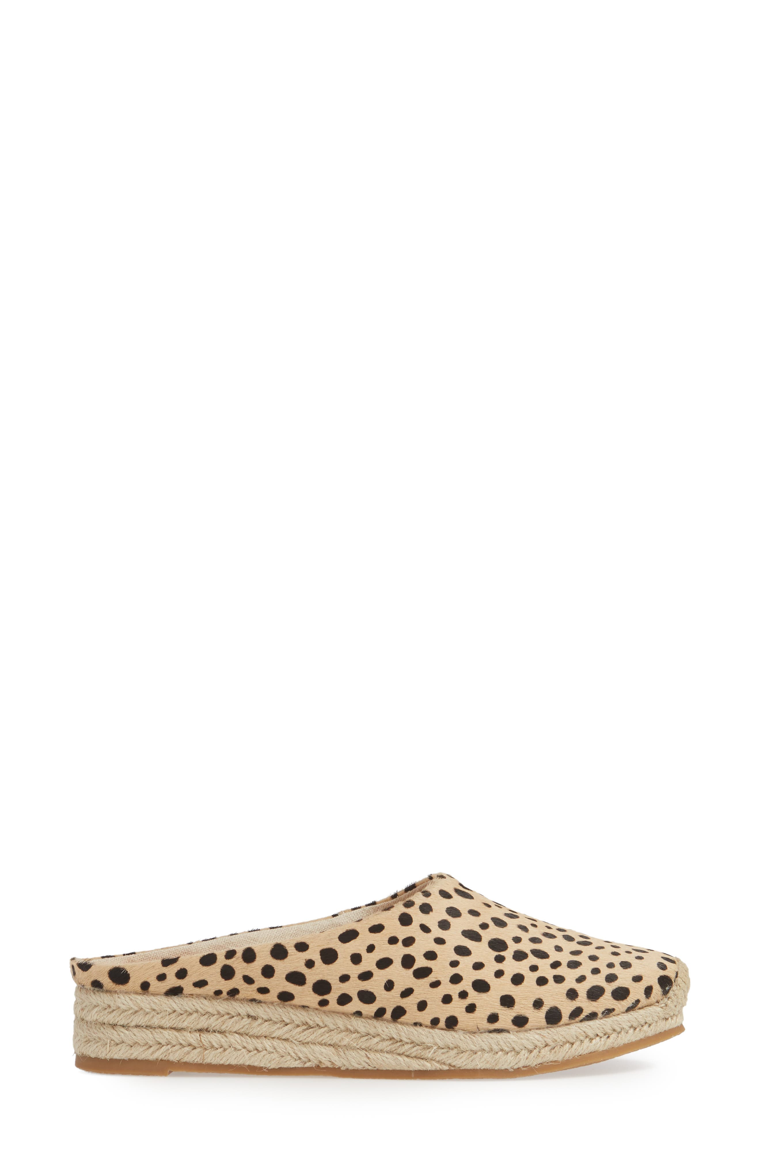 DOLCE VITA, Brandi Genuine Calf Hair Espadrille Mule, Alternate thumbnail 3, color, LEOPARD PRINT CALF HAIR