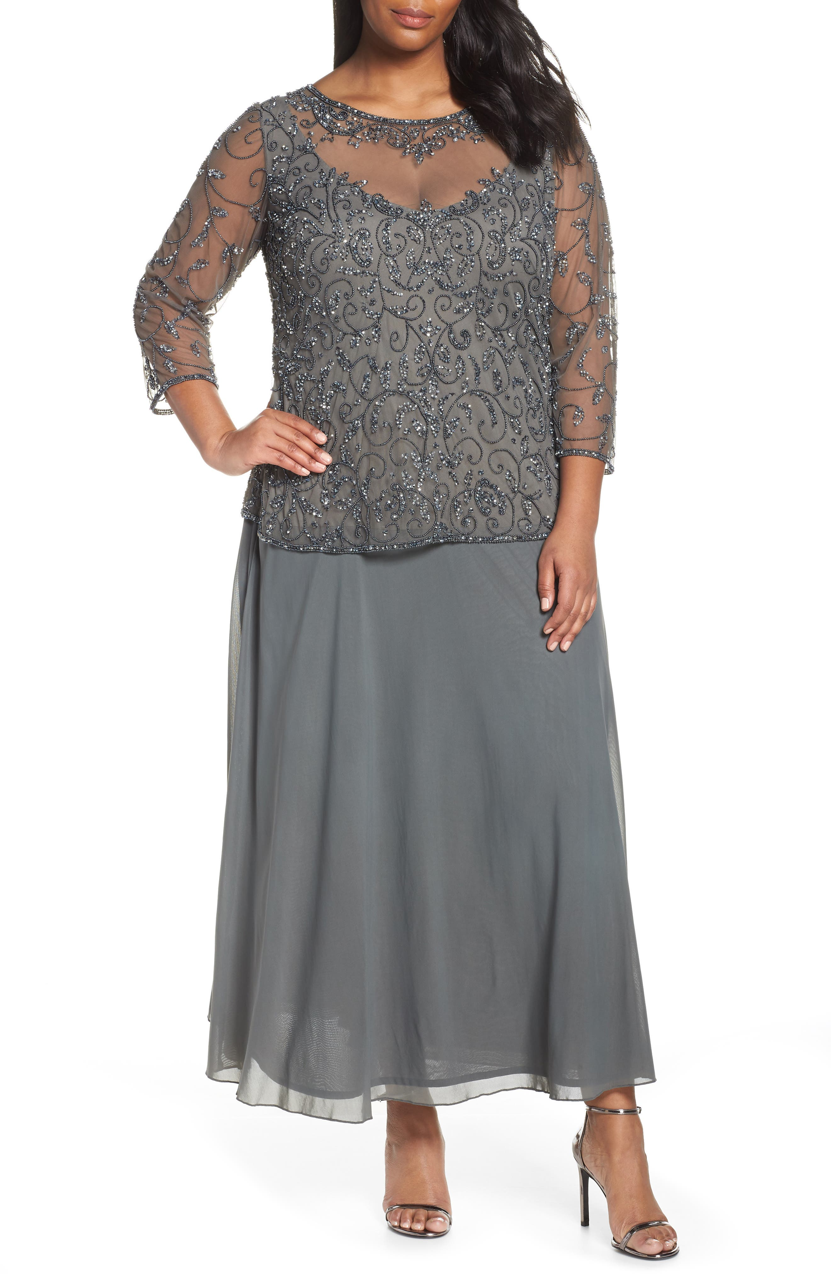 Plus Size Pissaro Nights Beaded Mesh Mock Two-Piece Gown, Grey