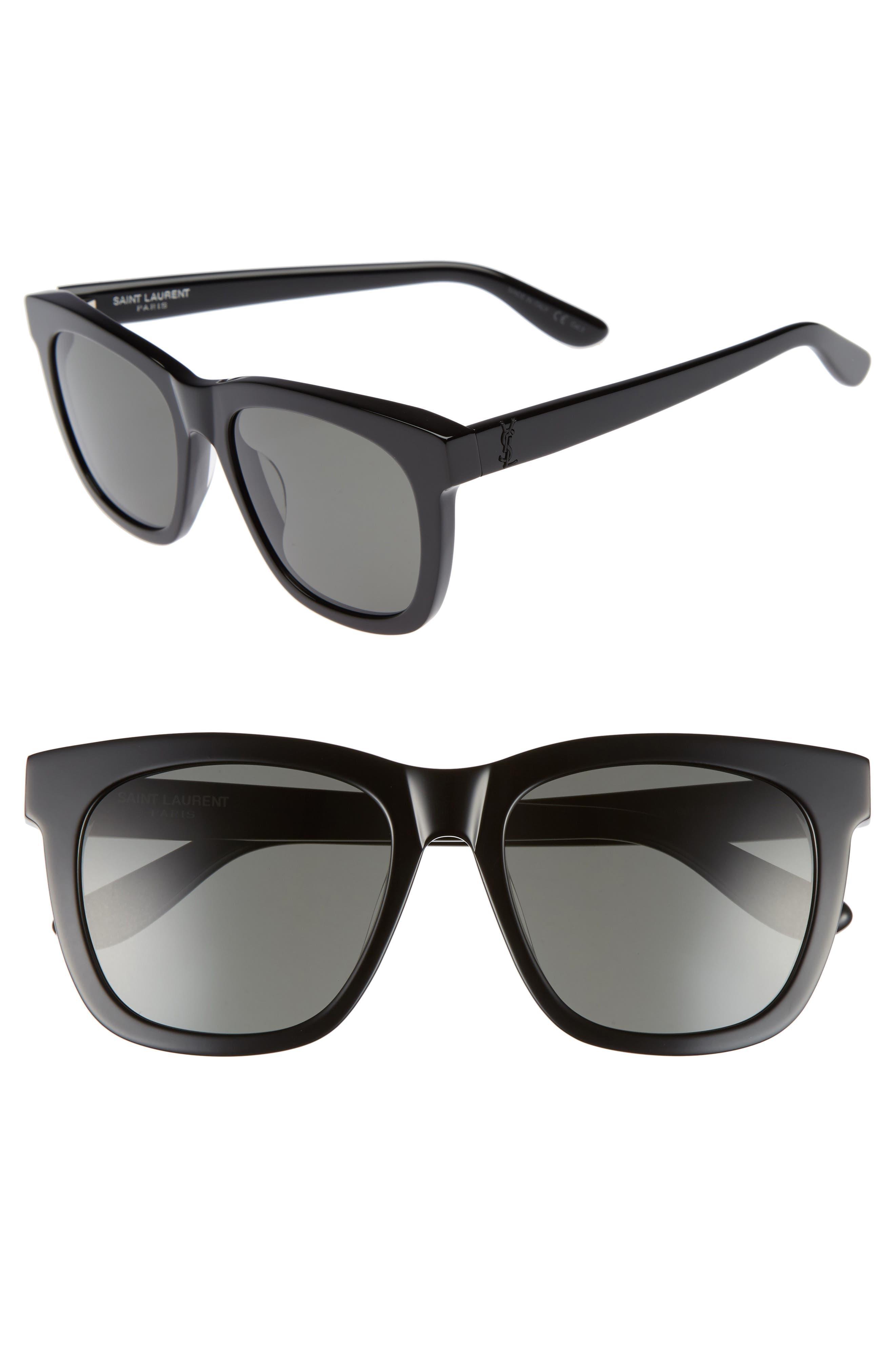 SAINT LAURENT, 55mm Sunglasses, Main thumbnail 1, color, BLACK