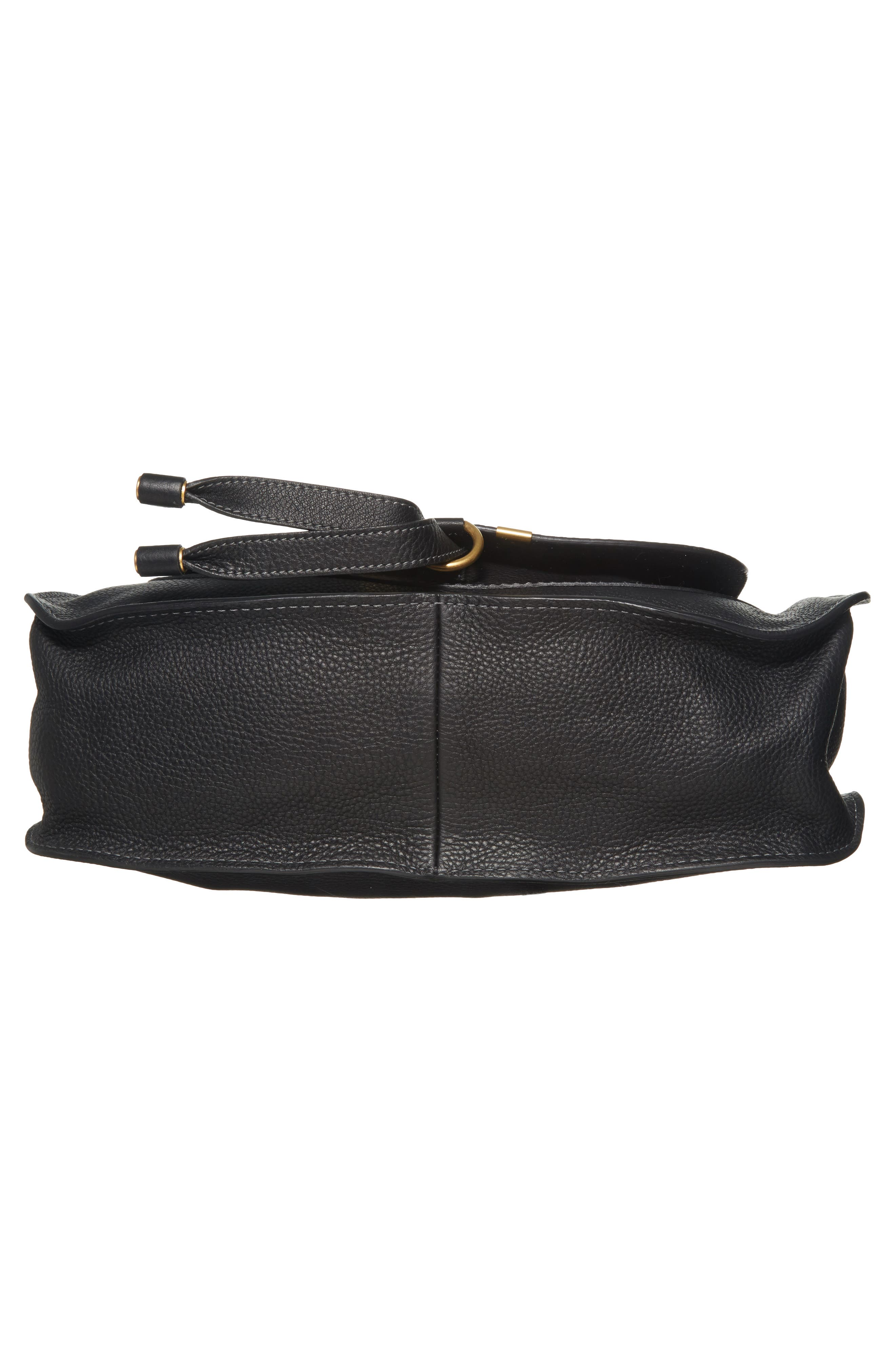 CHLOÉ, 'Medium Marcie' Leather Satchel, Alternate thumbnail 6, color, BLACK GOLD HRDWRE