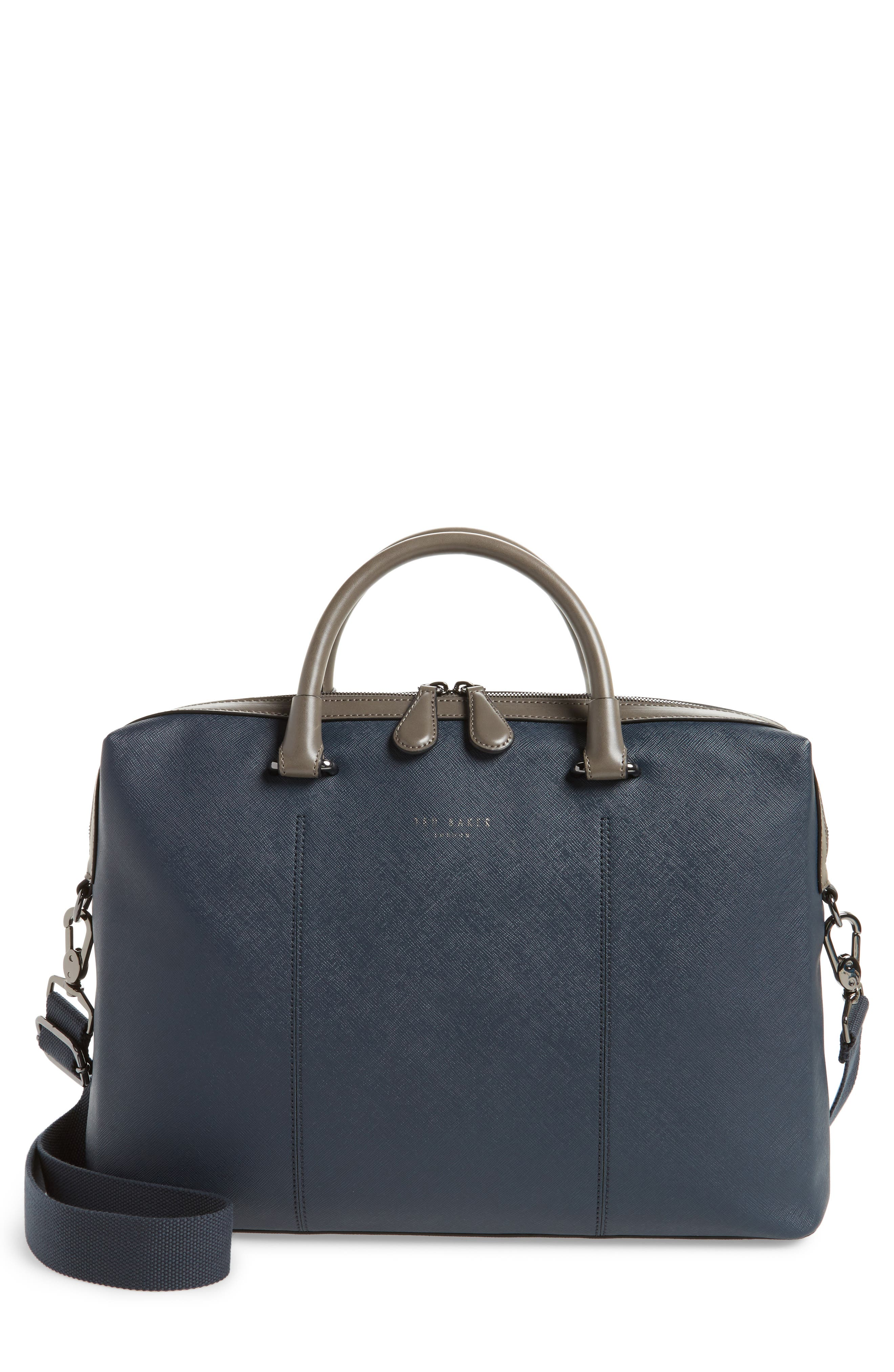 TED BAKER LONDON Trough Crossgrain Document Briefcase, Main, color, NAVY