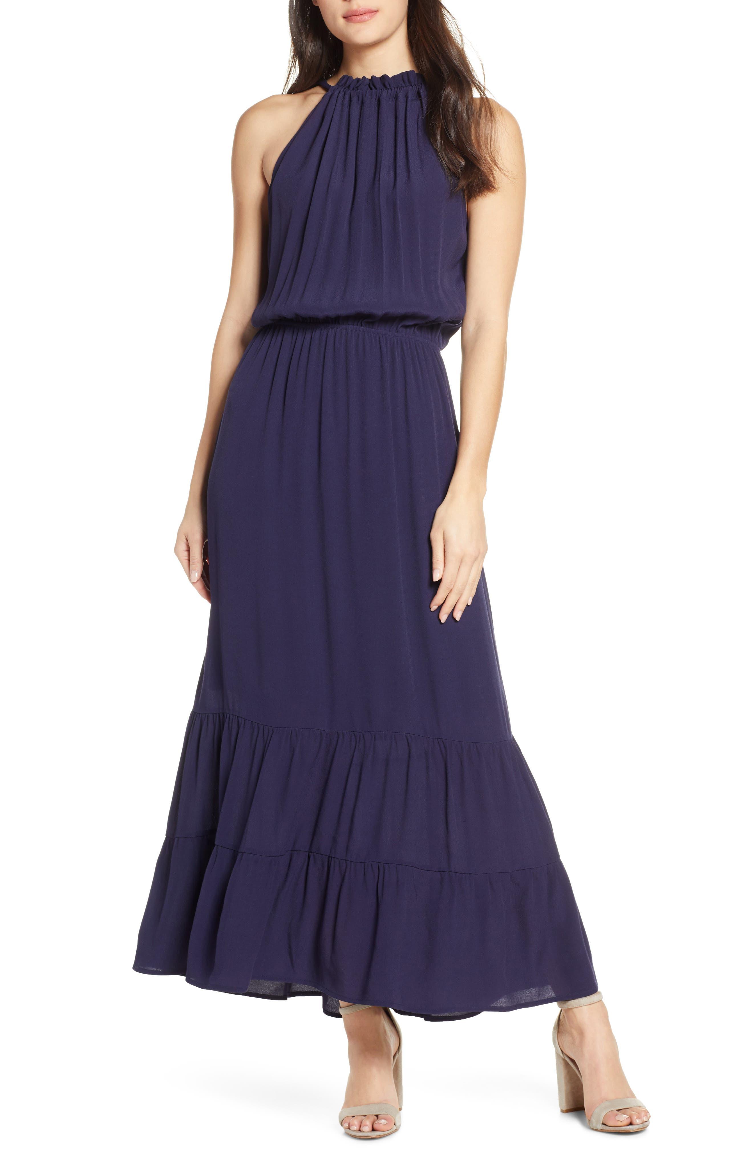 Fraiche By J Tie Back Blouson Dress, Blue