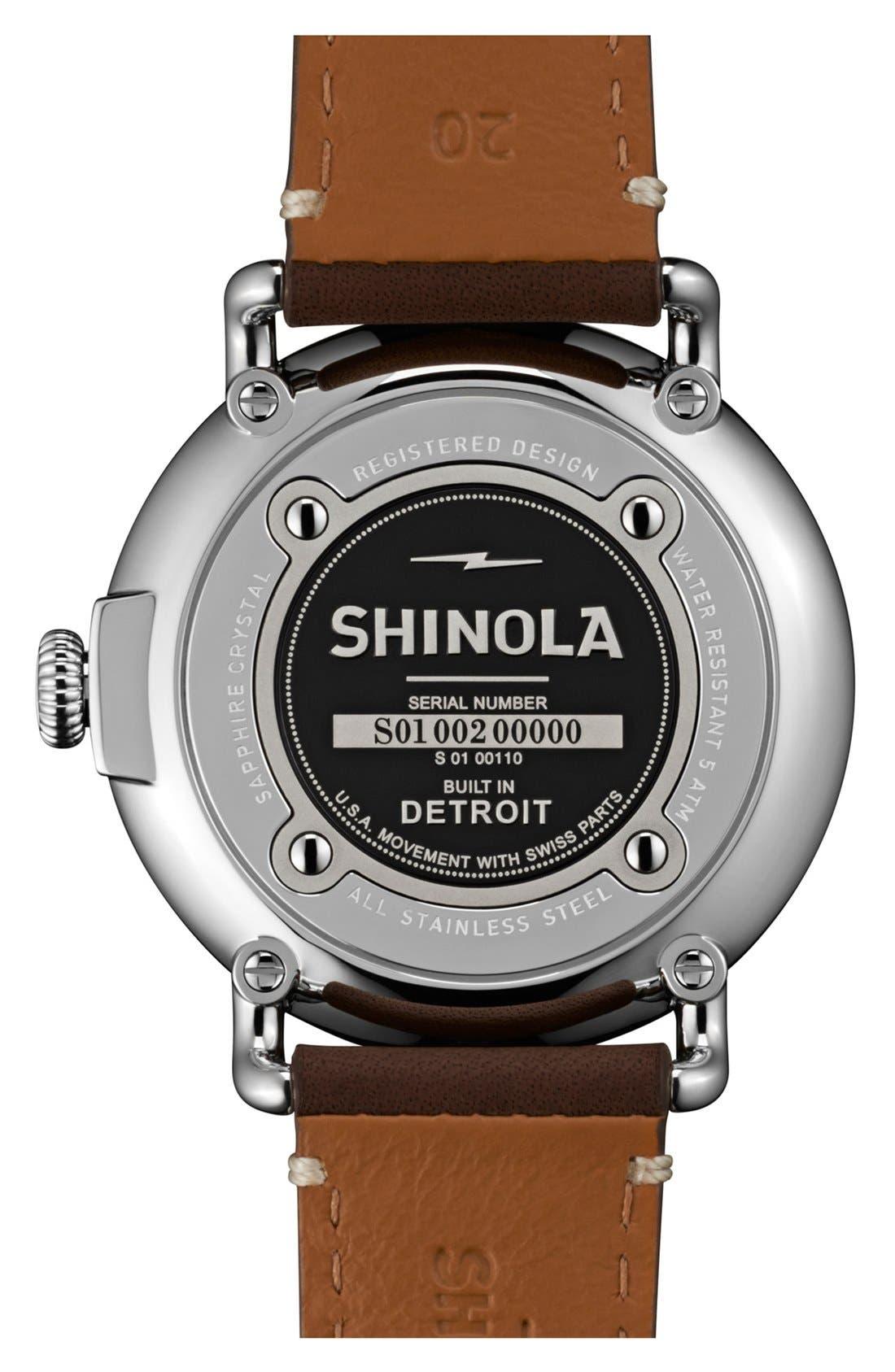 SHINOLA, 'The Runwell' Leather Strap Watch, 41mm, Alternate thumbnail 3, color, DARK COFFEE/ CREAM