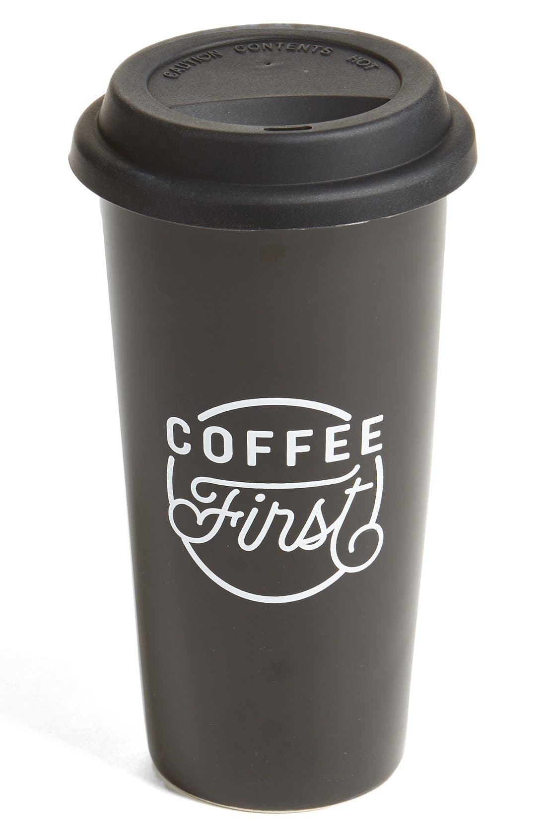 THE CREATED CO., 'Coffee First' Travel Tumbler, Main thumbnail 1, color, 001