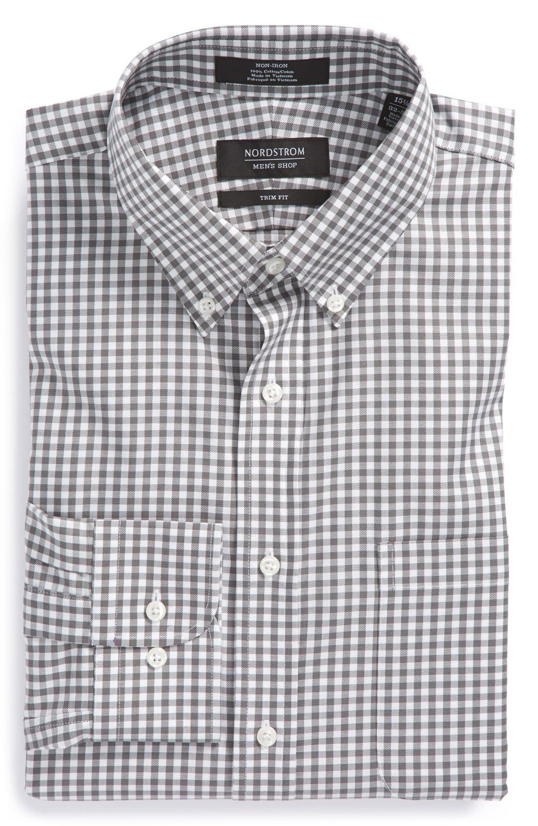 NORDSTROM MEN'S SHOP, Trim Fit Non-Iron Gingham Dress Shirt, Alternate thumbnail 3, color, GREY- CASTLEROCK