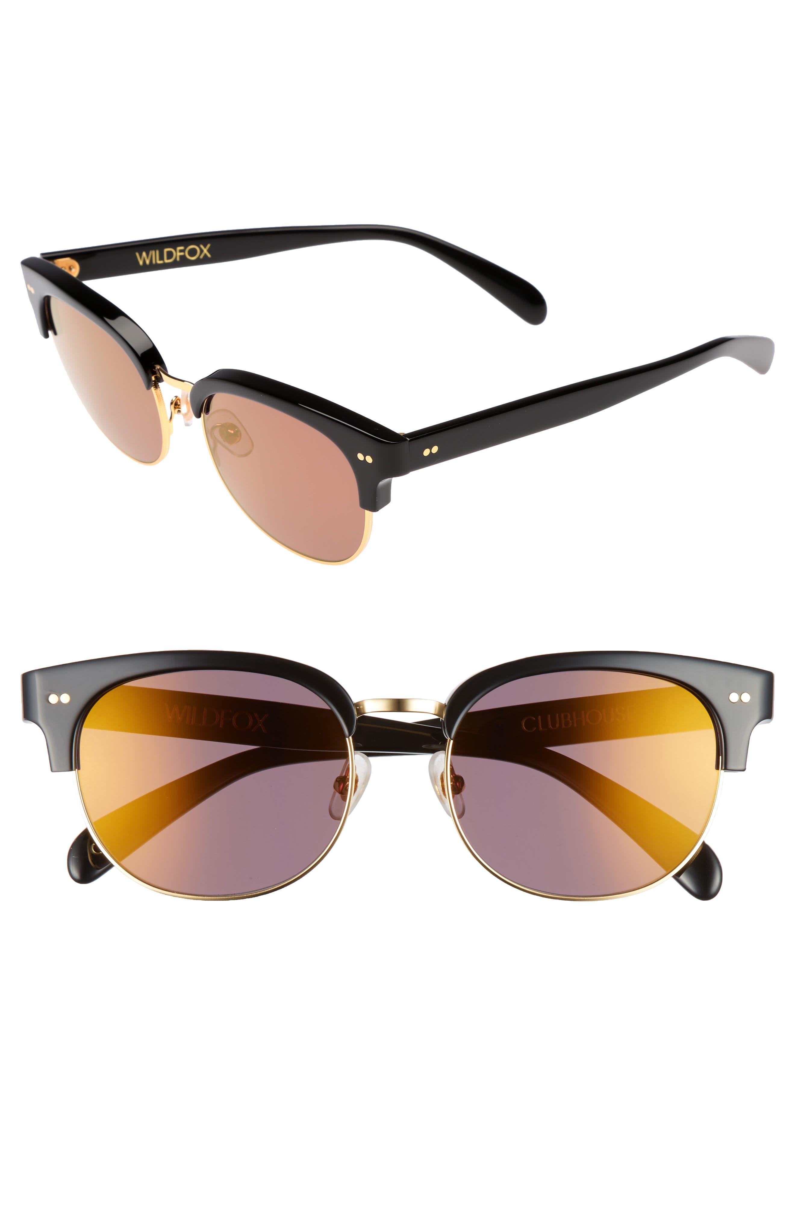 WILDFOX, Clubhouse 50mm Semi-Rimless Sunglasses, Main thumbnail 1, color, BLACK/ GOLD