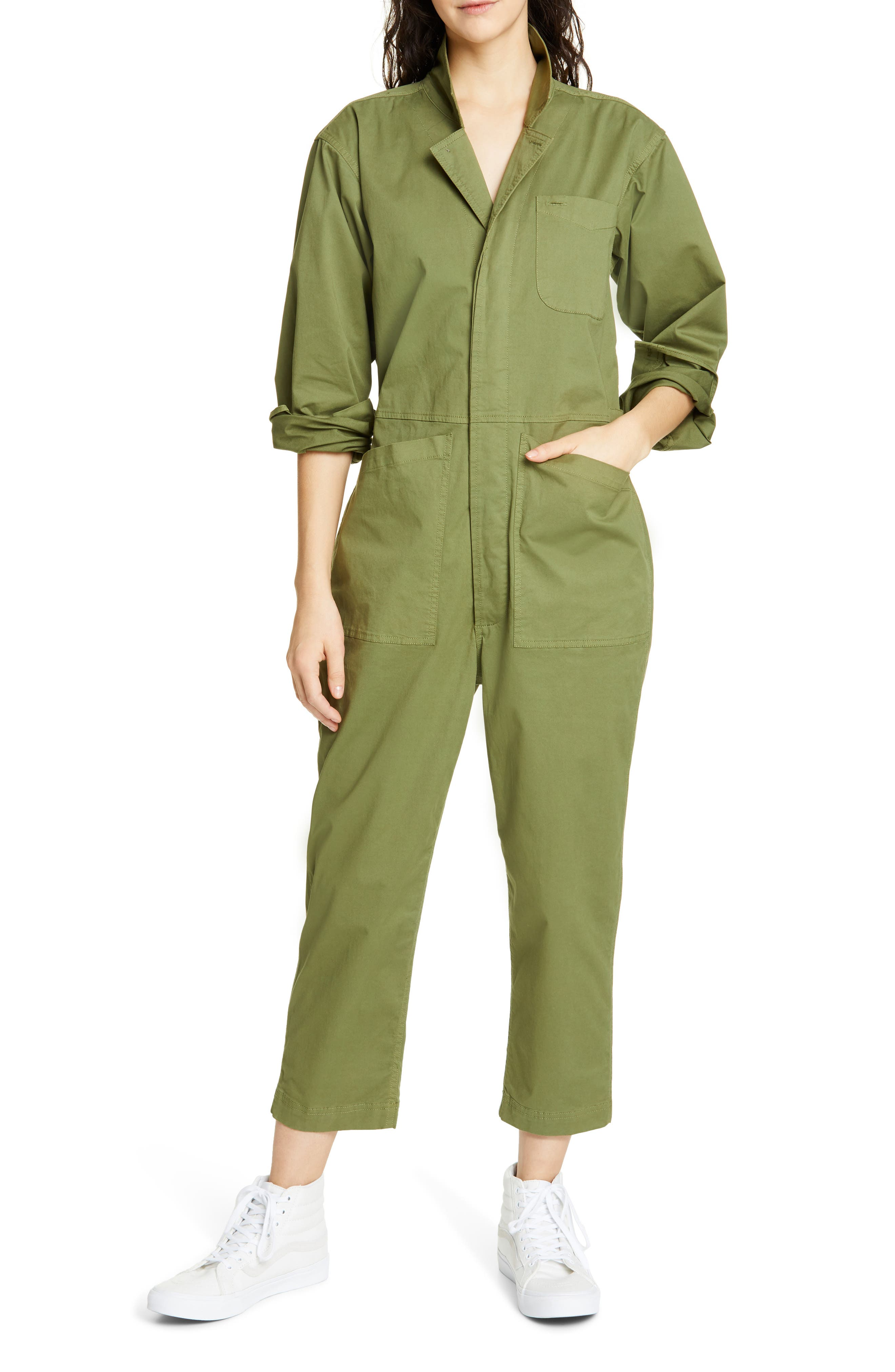 ALEX MILL, Stretch Cotton Jumpsuit, Main thumbnail 1, color, ARMY GREEN