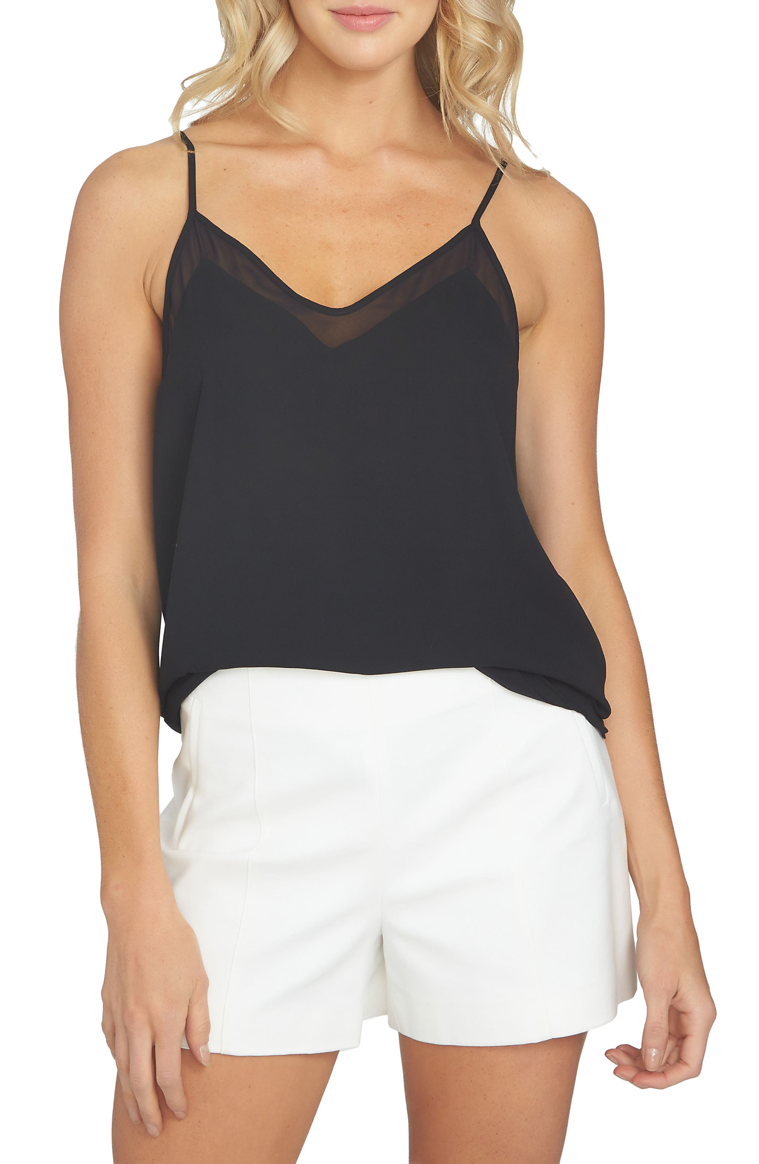 1.STATE, Chiffon Inset Camisole, Main thumbnail 1, color, RICH BLACK