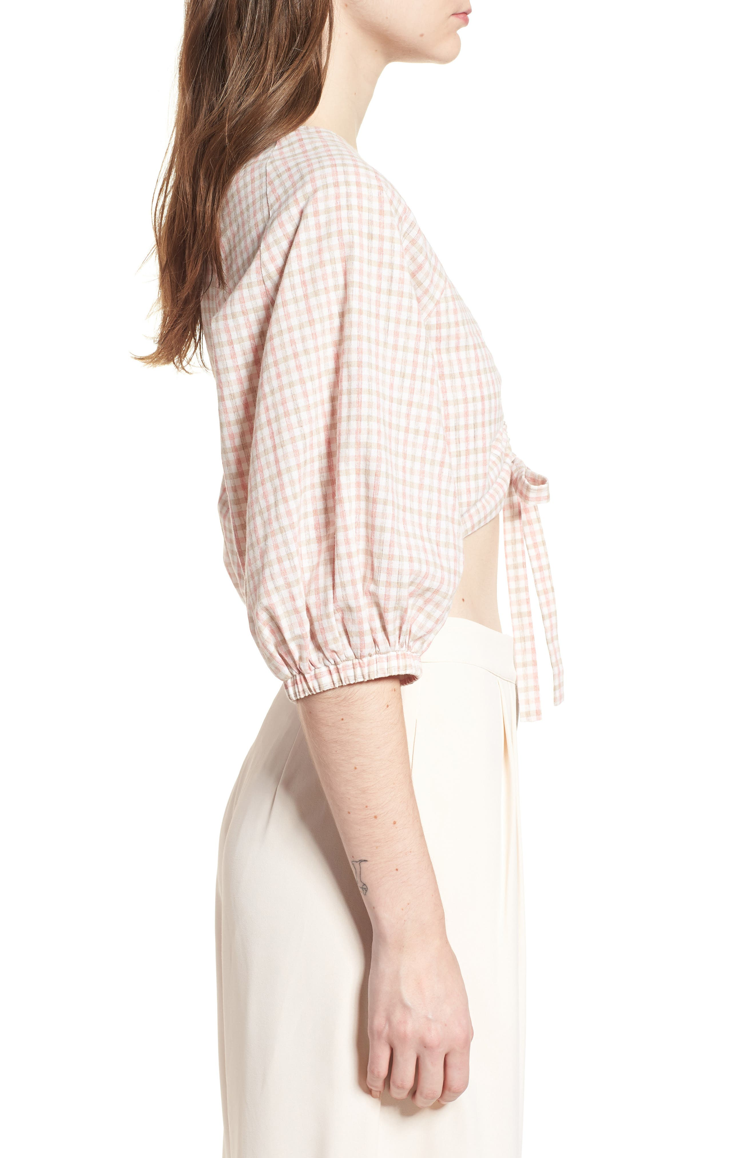 J.O.A., Chriselle x J.O.A. Ruched Front Crop Top, Alternate thumbnail 3, color, 650