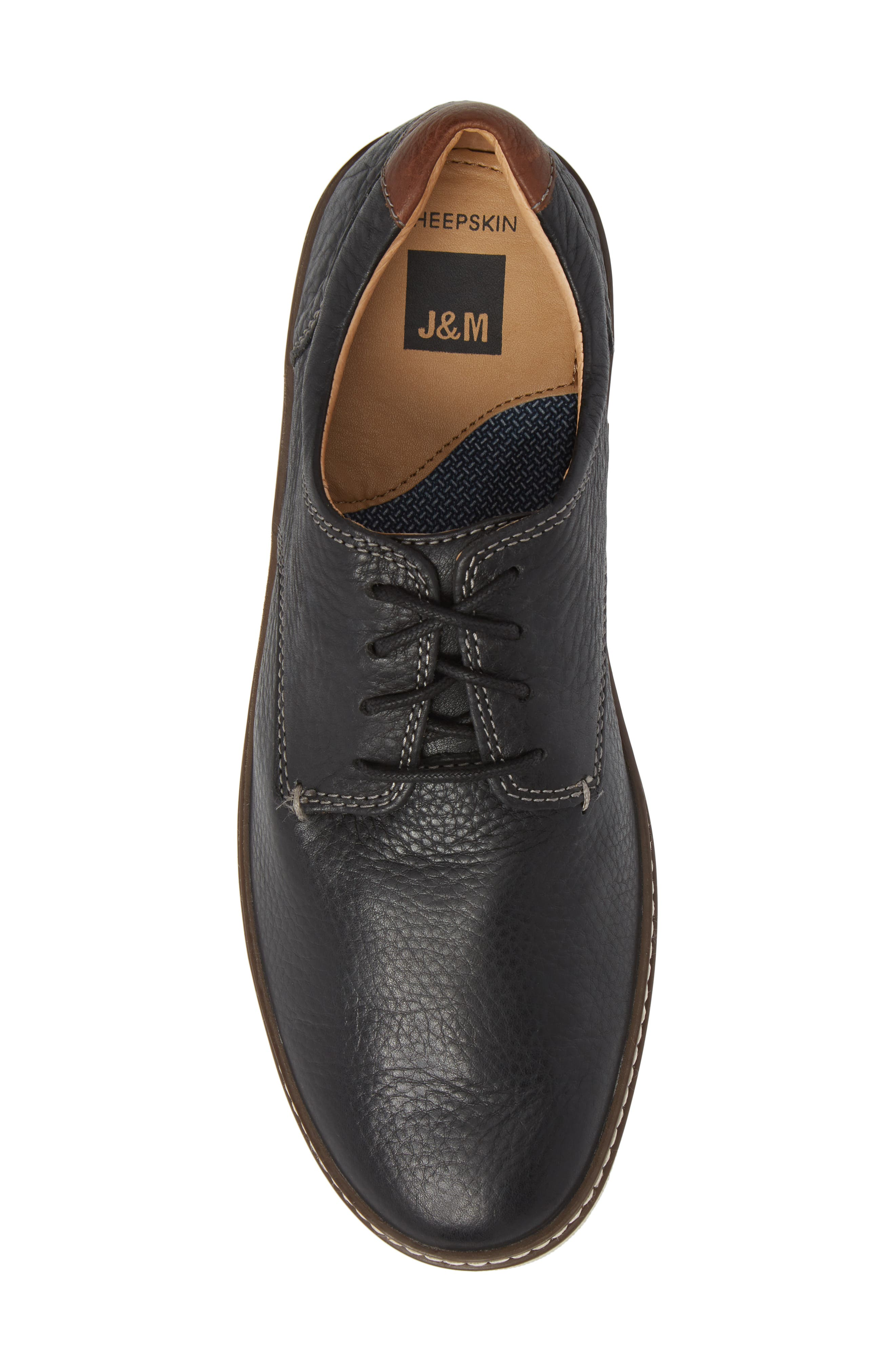 JOHNSTON & MURPHY, McGuffey Derby Sneaker, Alternate thumbnail 5, color, BLACK LEATHER