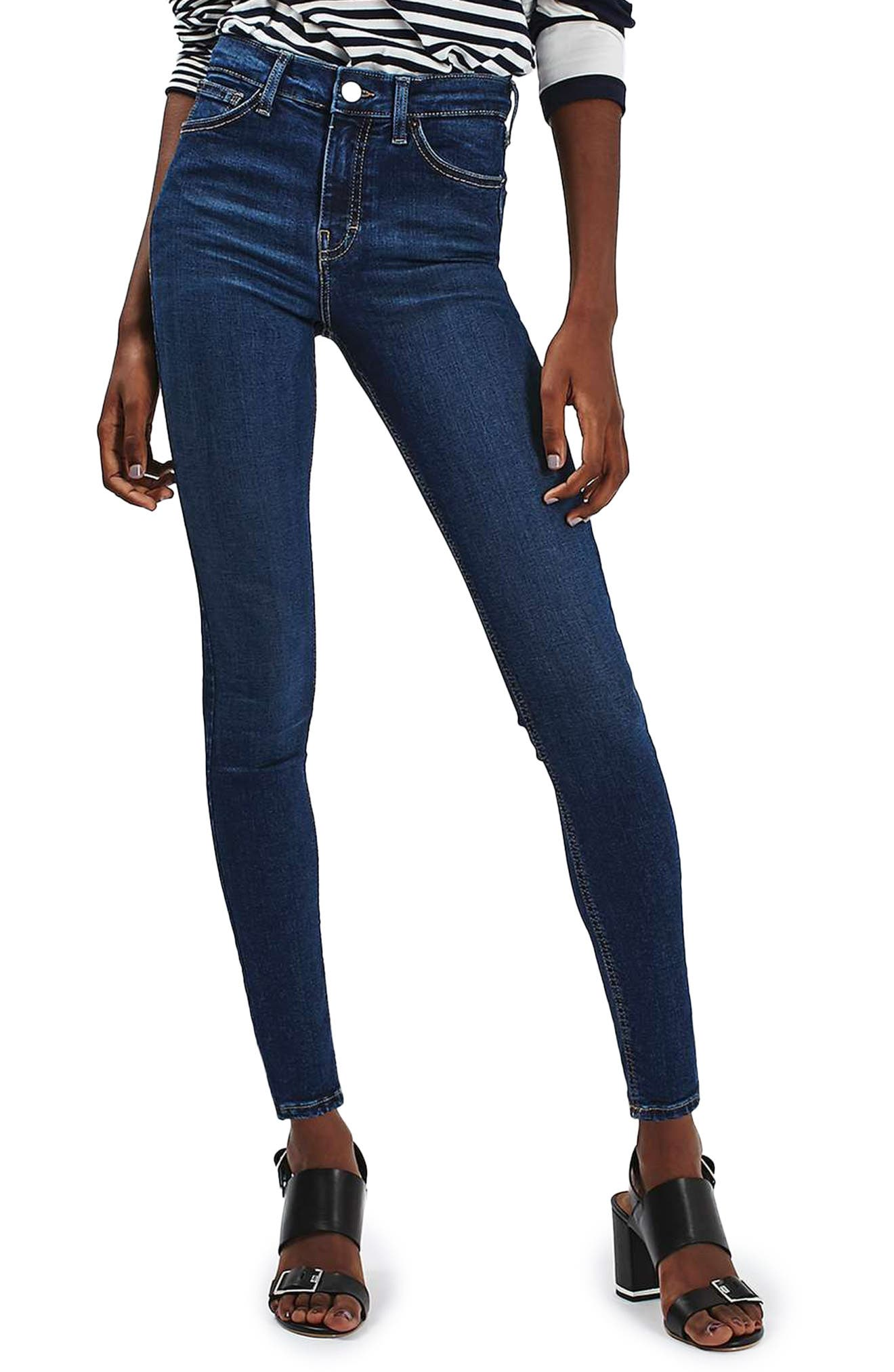 TOPSHOP, Jamie High Waist Ankle Skinny Jeans, Main thumbnail 1, color, 401
