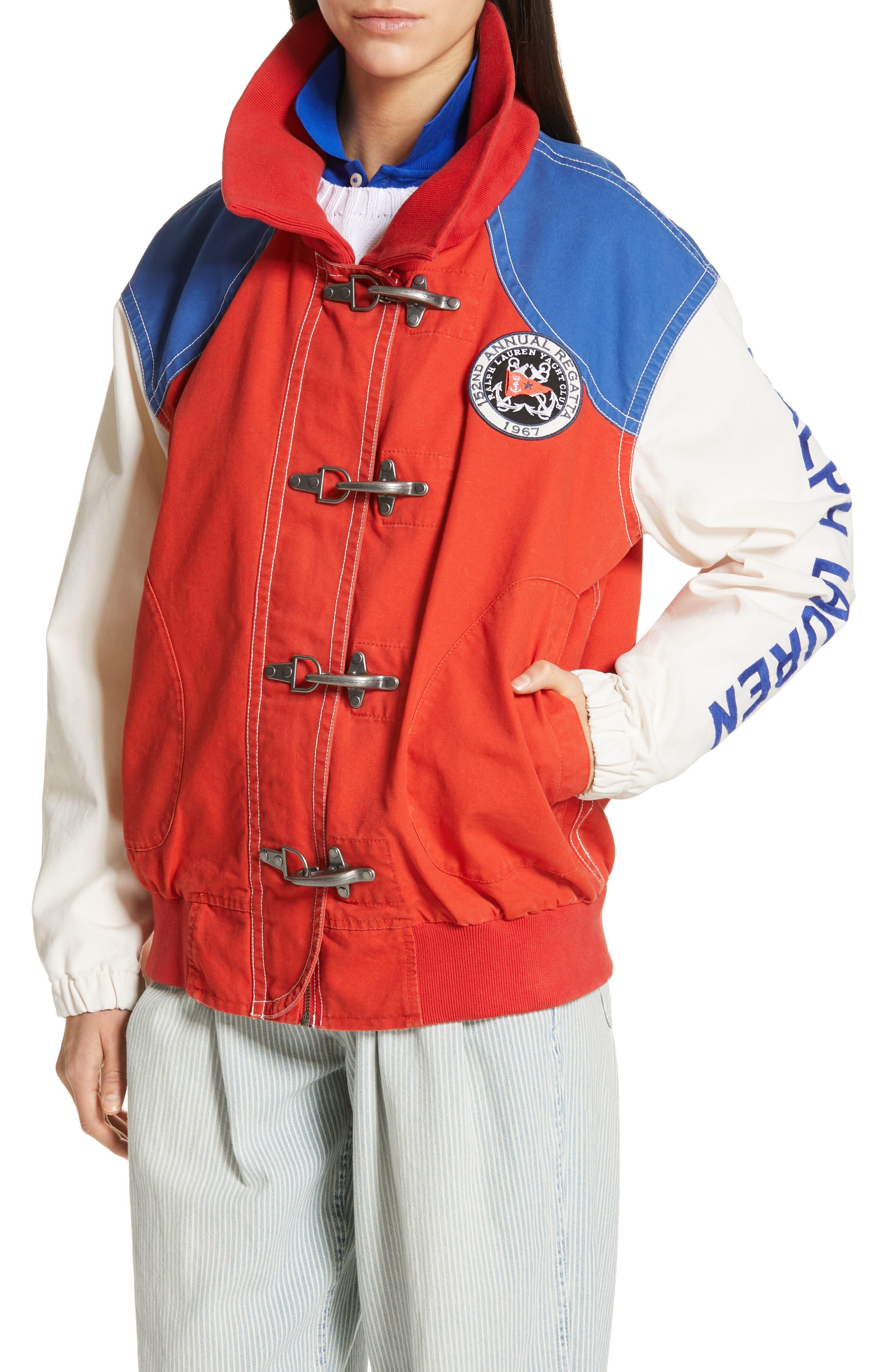 POLO RALPH LAUREN, Colorblock Utility Jacket, Alternate thumbnail 5, color, ORANGE/CREAM/ SAPPHIRE