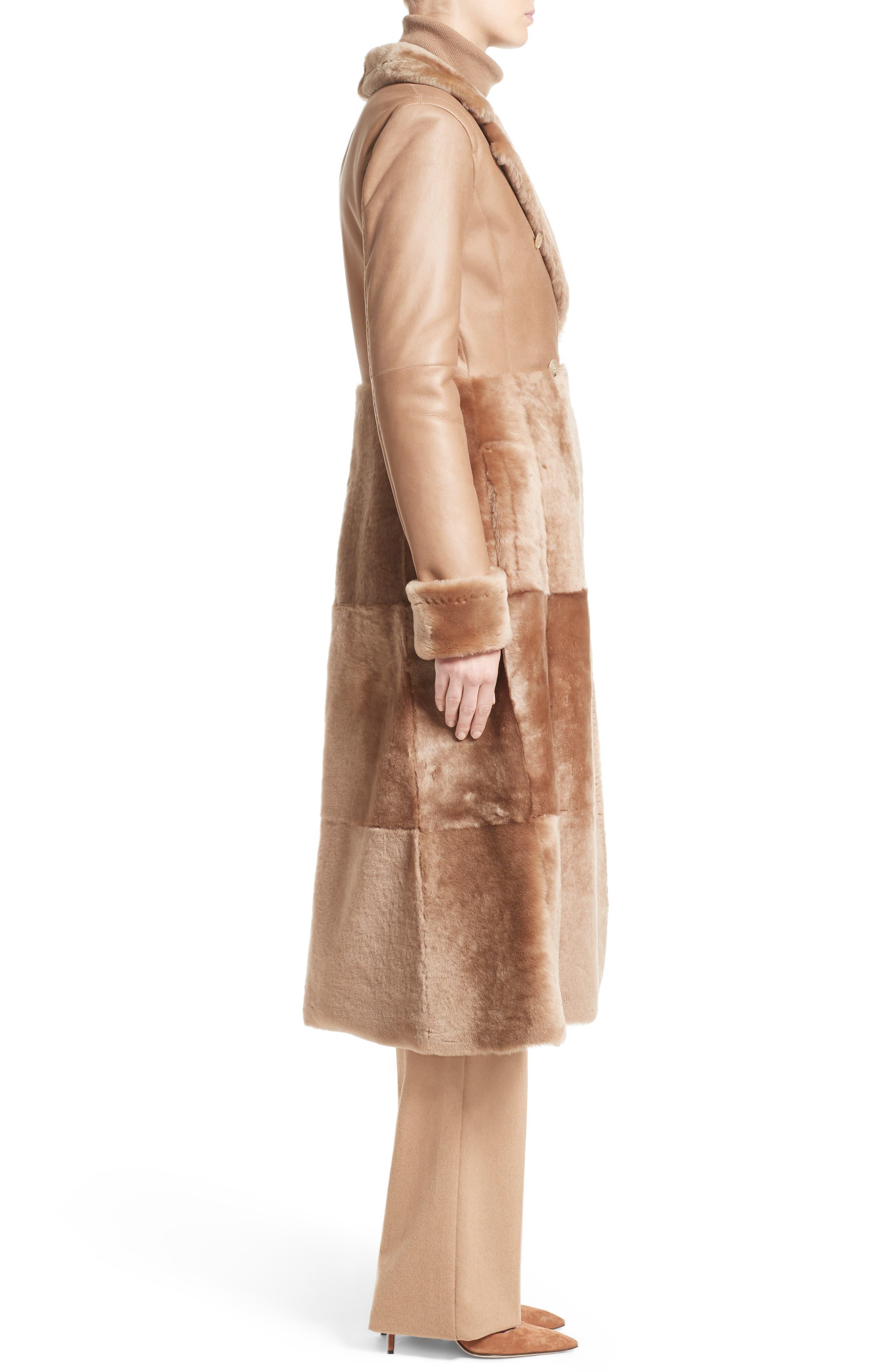 MAX MARA, Rimini Genuine Shearling Coat, Alternate thumbnail 3, color, CAMEL
