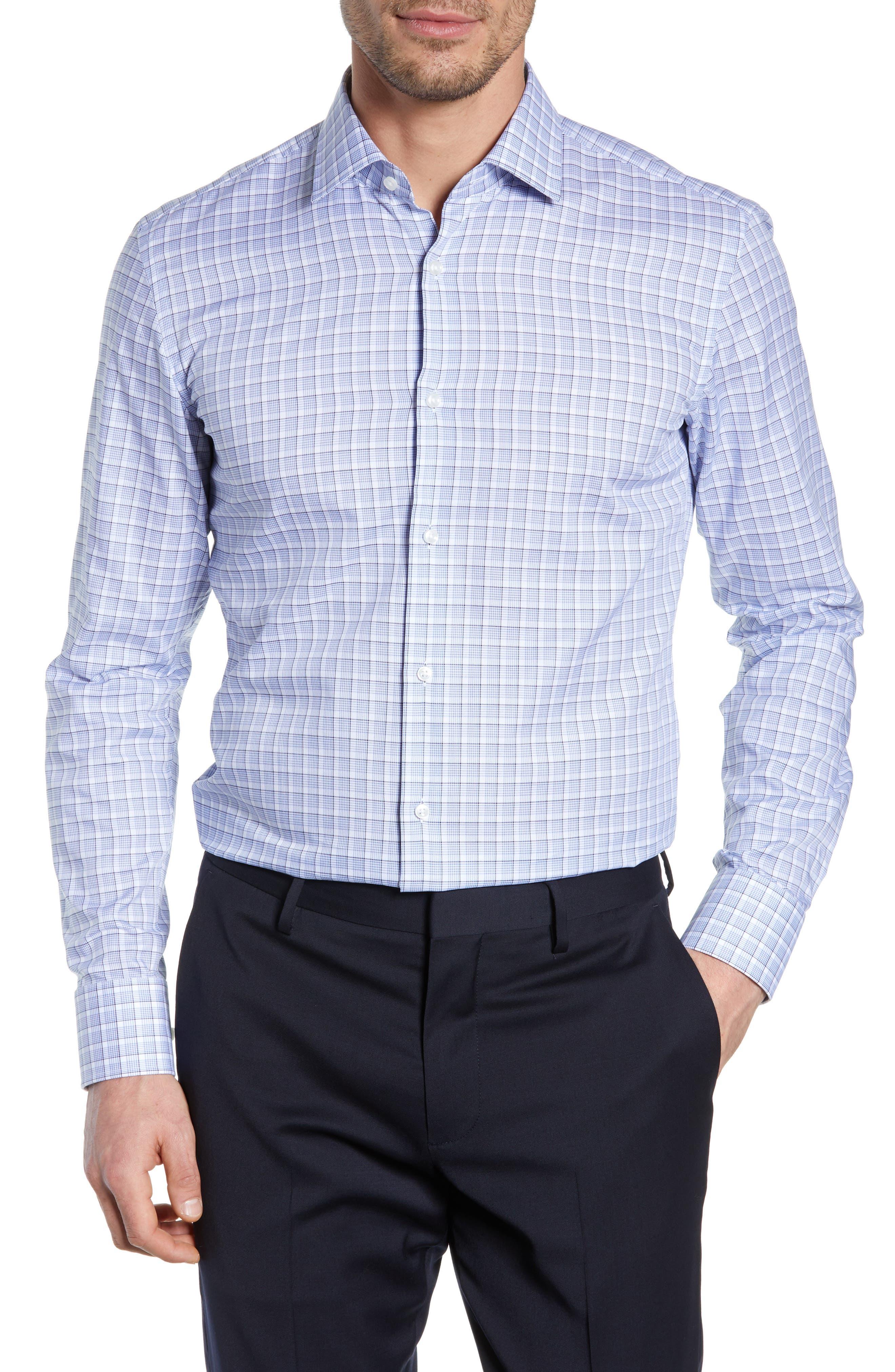 BOSS, Jenno Slim Fit Plaid Dress Shirt, Main thumbnail 1, color, BLUE