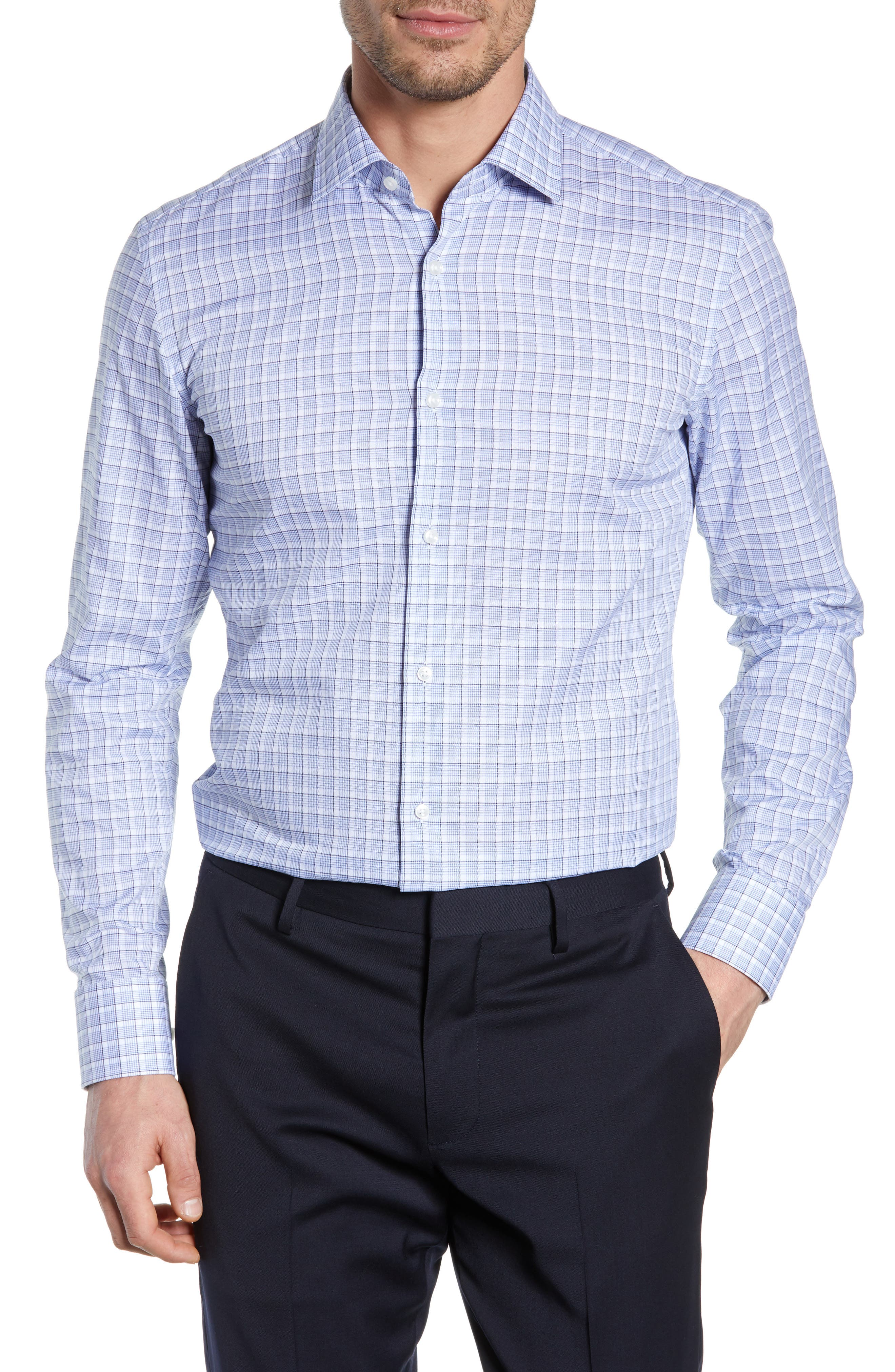 BOSS Jenno Slim Fit Plaid Dress Shirt, Main, color, BLUE