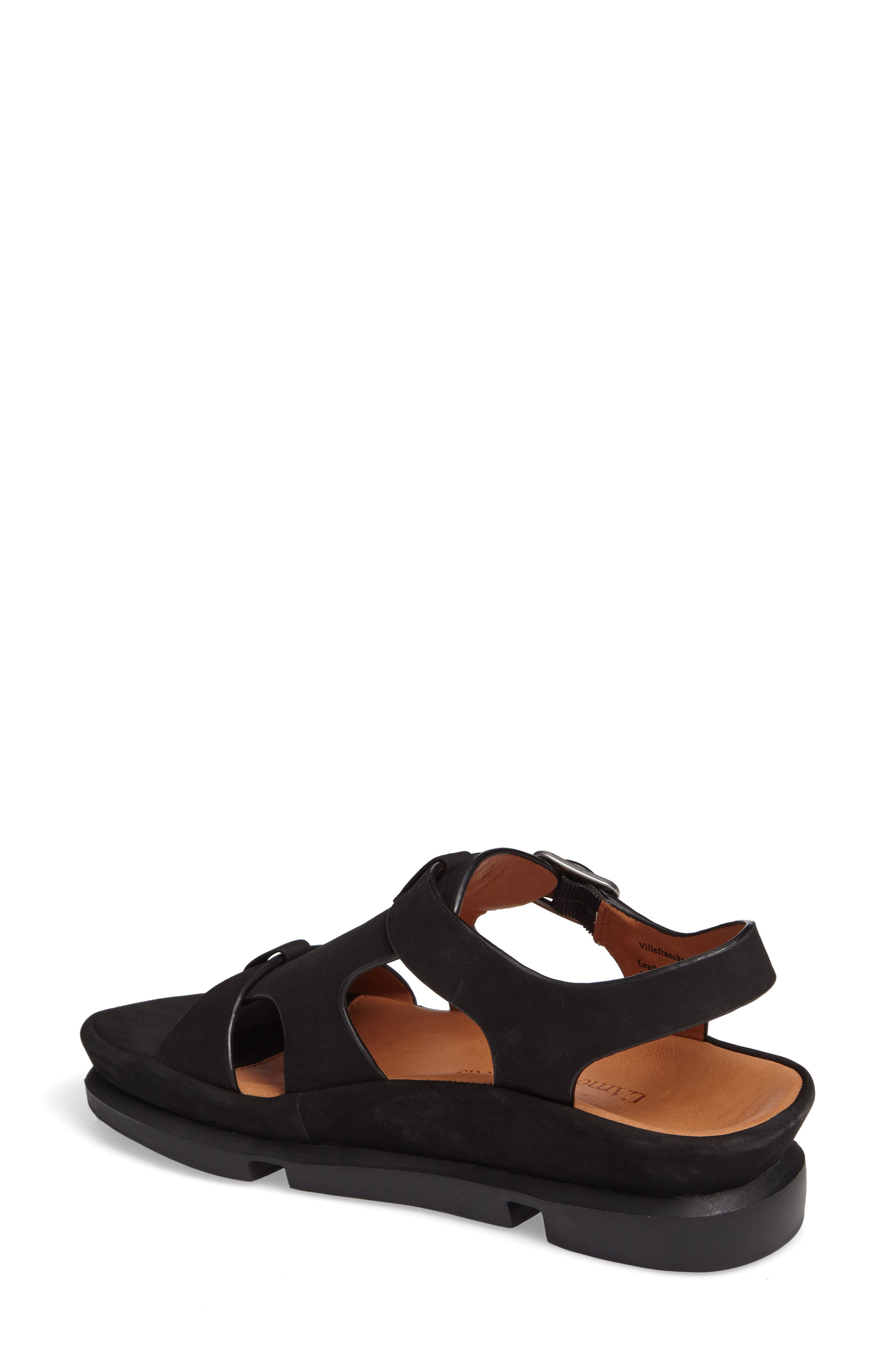 L'AMOUR DES PIEDS, Villefranche Sandal, Alternate thumbnail 2, color, BLACK NUBUCK