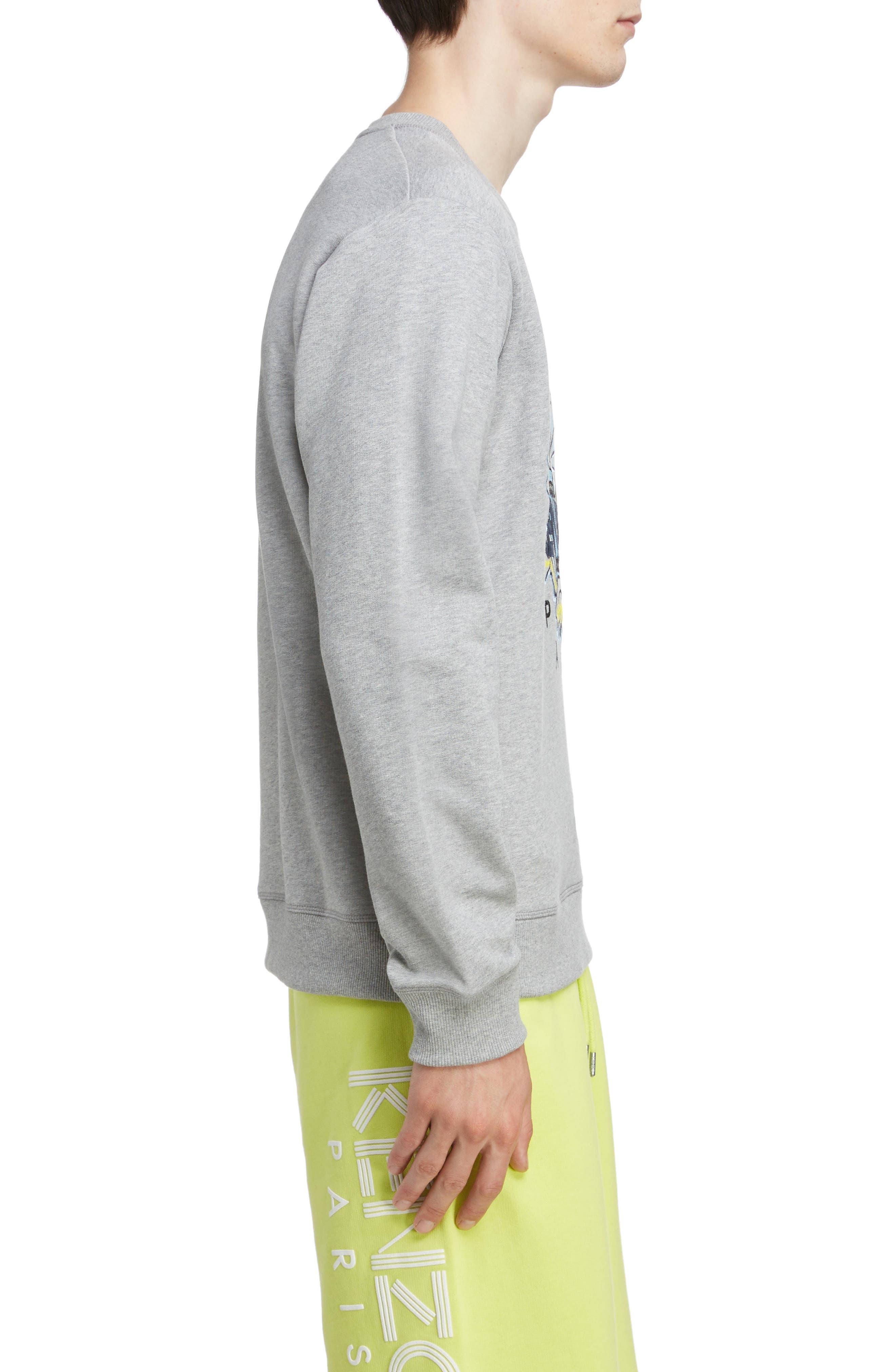KENZO, Tiger Sweatshirt, Alternate thumbnail 3, color, PEARL GREY