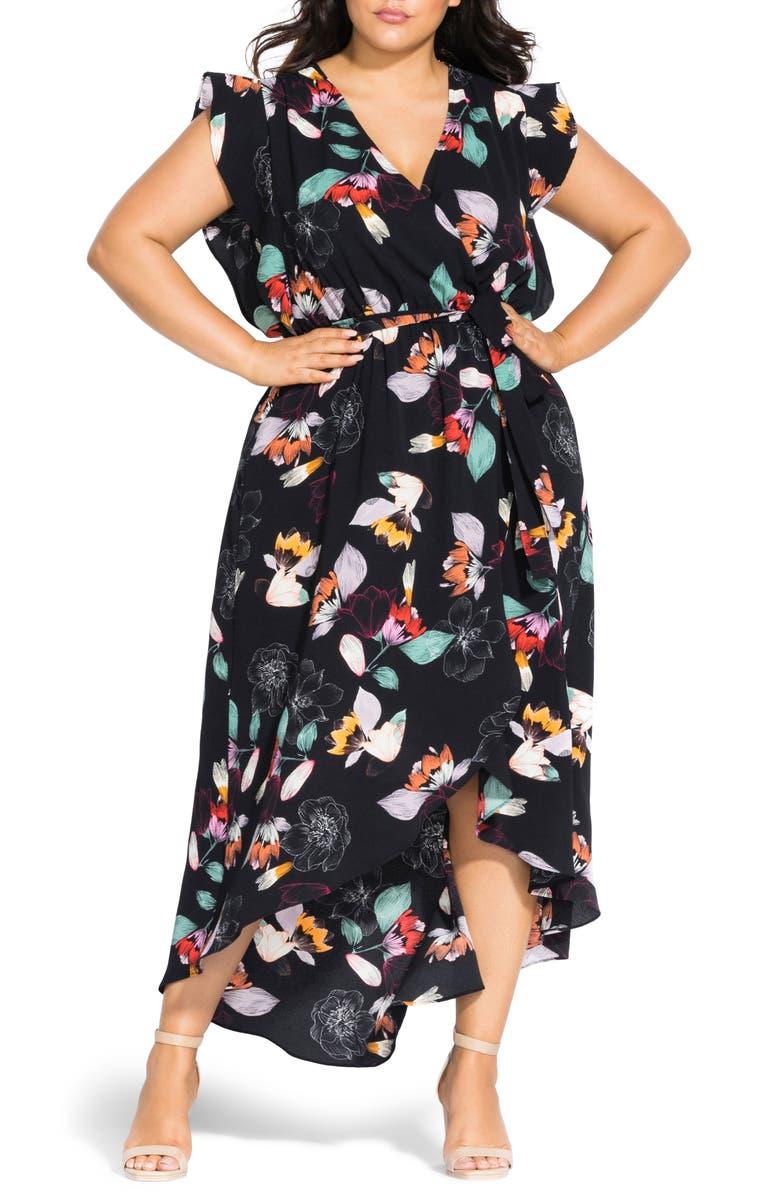 City Chic Dresses SKETCH FLORAL FAUX WRAP MAXI DRESS