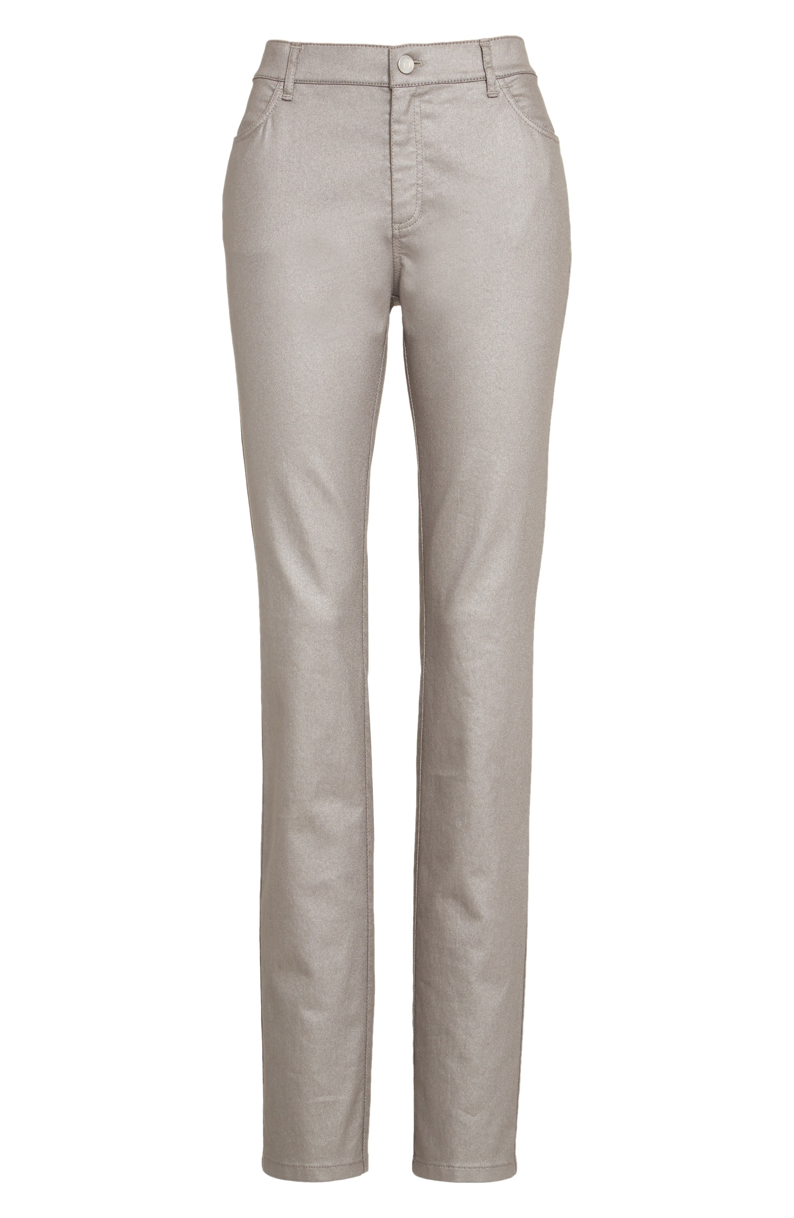 LAFAYETTE 148 NEW YORK, Curvy Fit Skinny Jeans, Alternate thumbnail 6, color, SILVER
