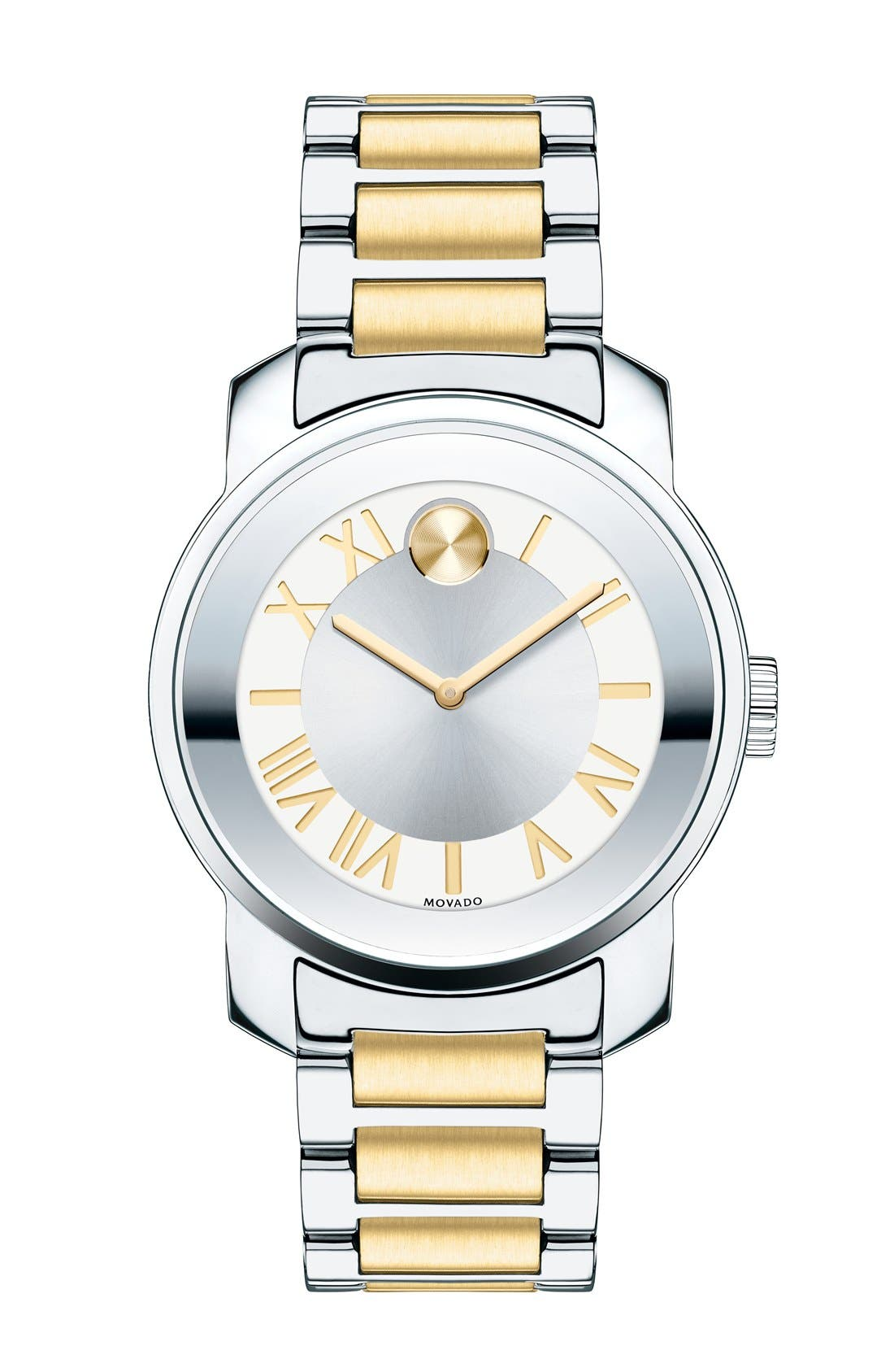 MOVADO, 'Bold' Two-Tone Bracelet Watch, 32mm, Main thumbnail 1, color, SILVER/ GOLD