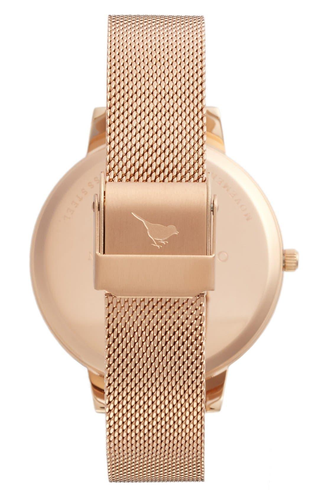OLIVIA BURTON, Signature Florals Mesh Bracelet Watch, 38mm, Alternate thumbnail 7, color, ROSE GOLD/ ROSE GOLD/ WHITE