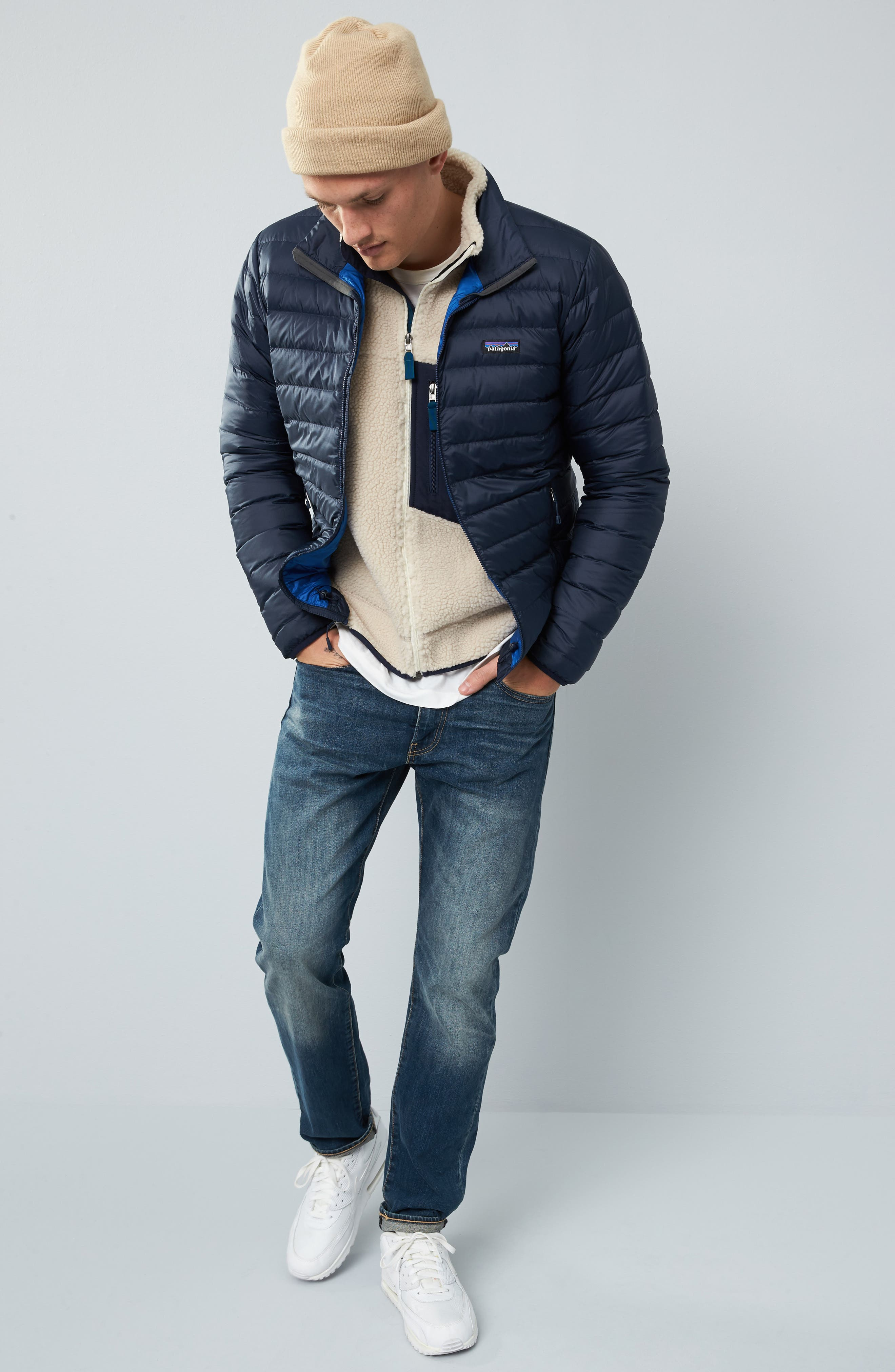PATAGONIA, Water Repellent Down Jacket, Alternate thumbnail 10, color, NAVY BLUE W/ NAVY BLUE