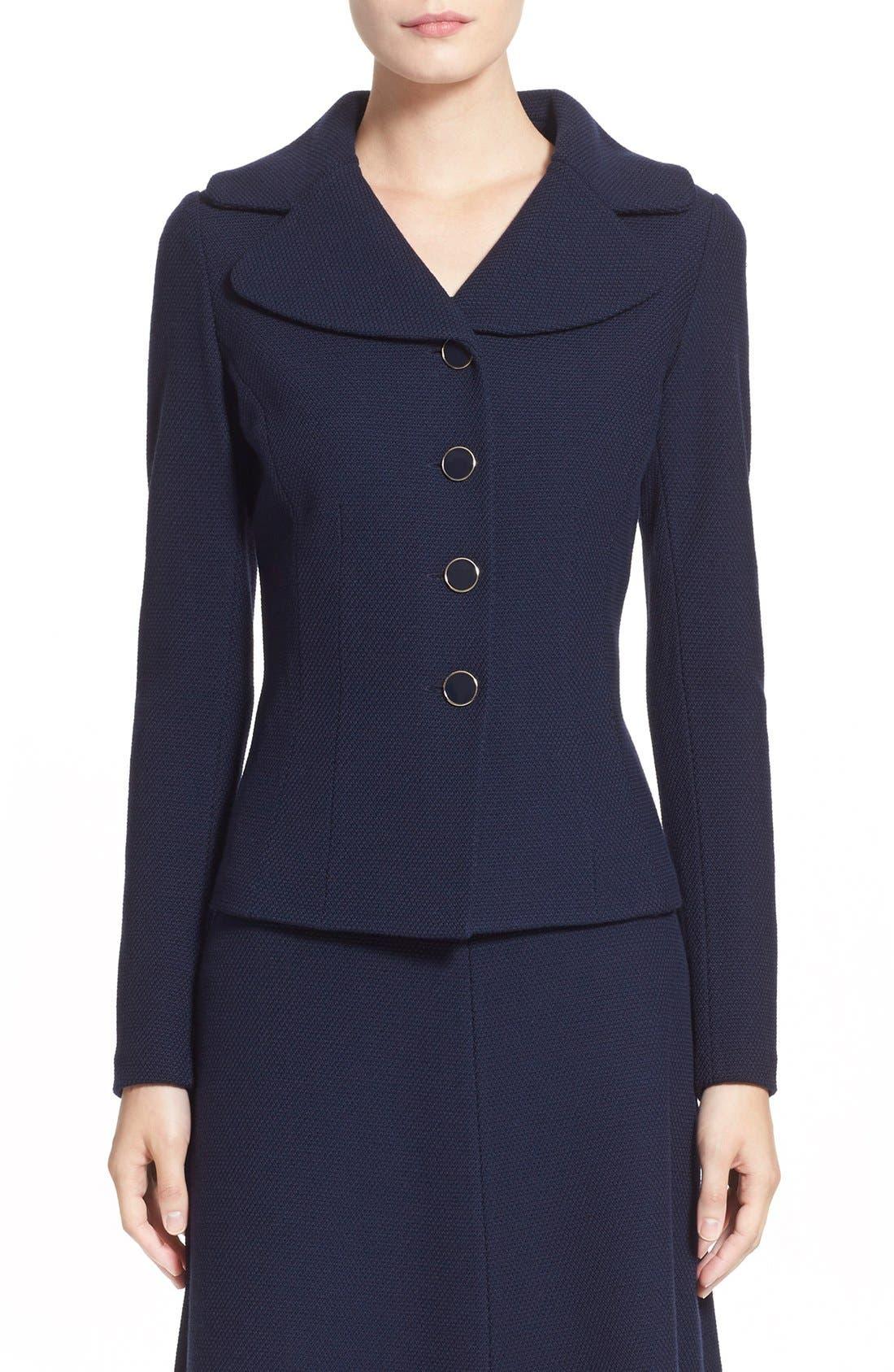 ST. JOHN COLLECTION Micro Bouclé Knit Jacket, Main, color, NAVY