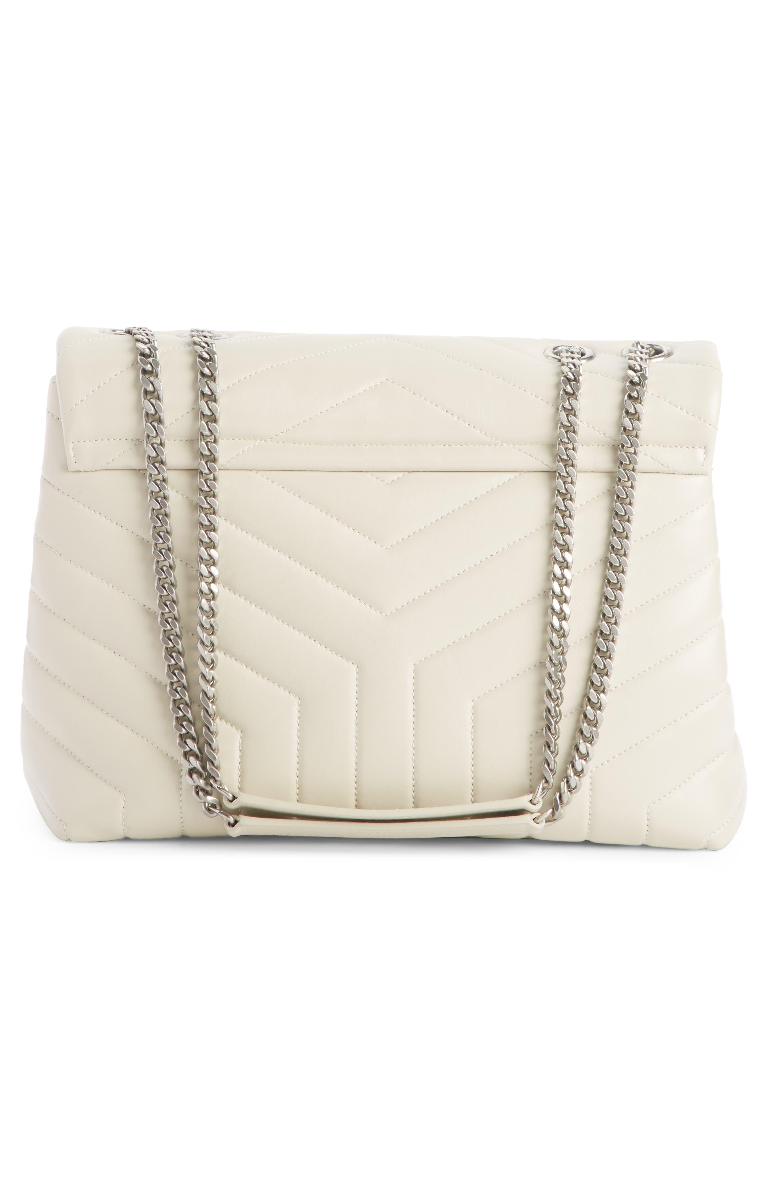 SAINT LAURENT, Medium Loulou Calfskin Leather Shoulder Bag, Alternate thumbnail 3, color, CREMA SOFT/ CREMA SOFT