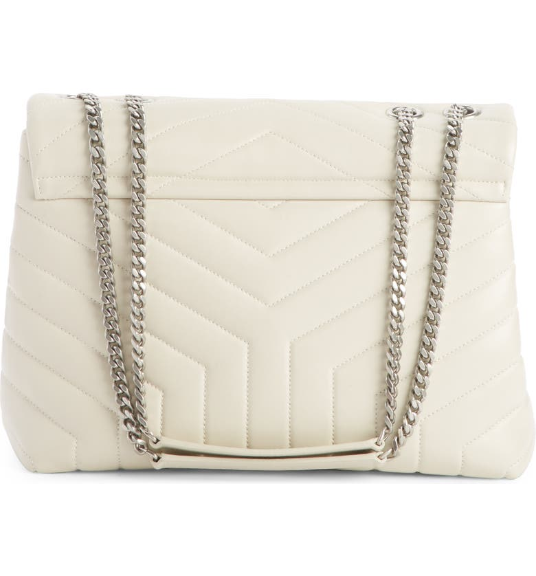 5a433d8beac Saint Laurent Medium Loulou Calfskin Leather Shoulder Bag - White In Crema  Soft  Crema Soft