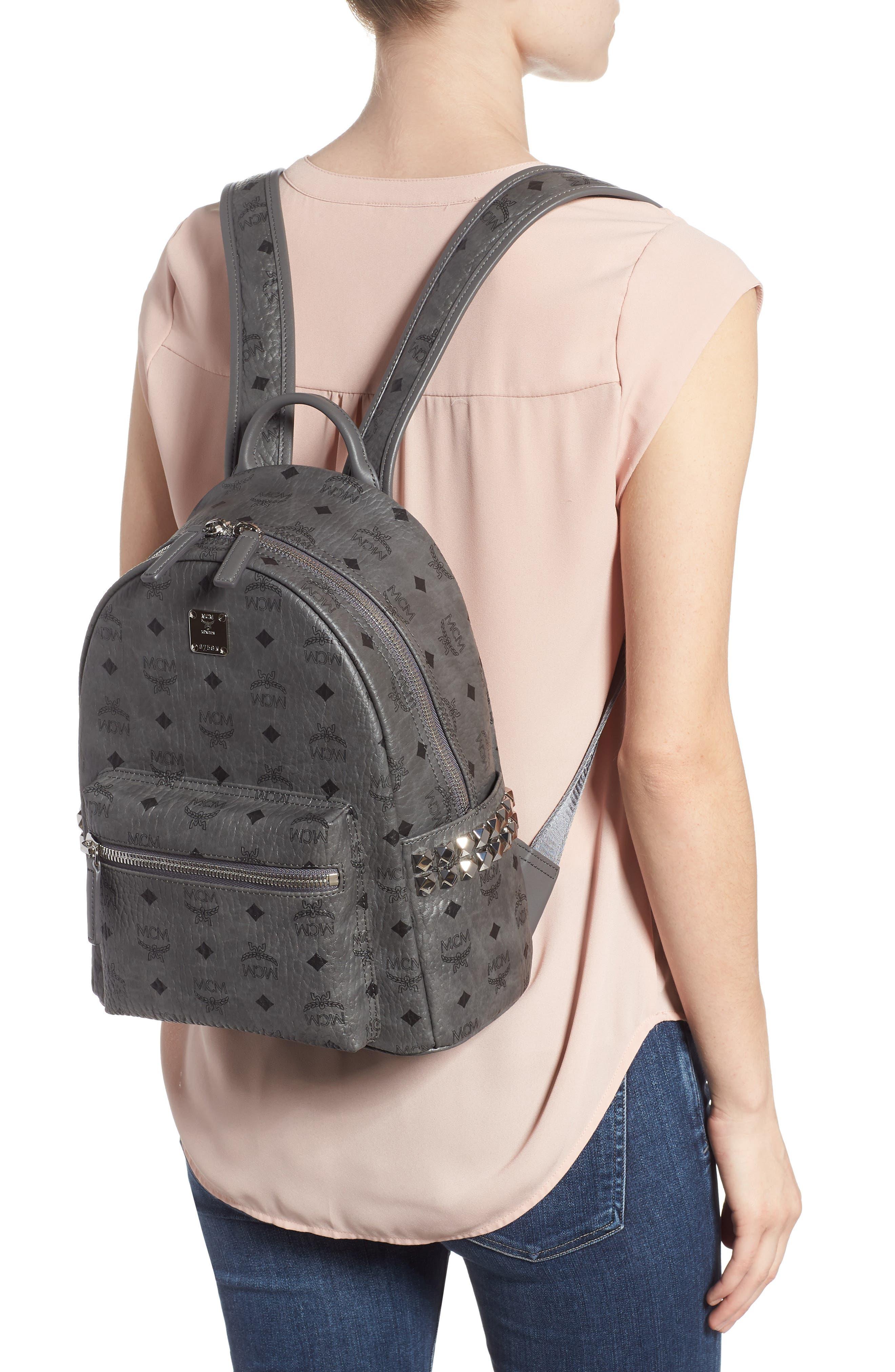 MCM, Small Stark Side Stud Backpack, Alternate thumbnail 2, color, PHANTOM GREY