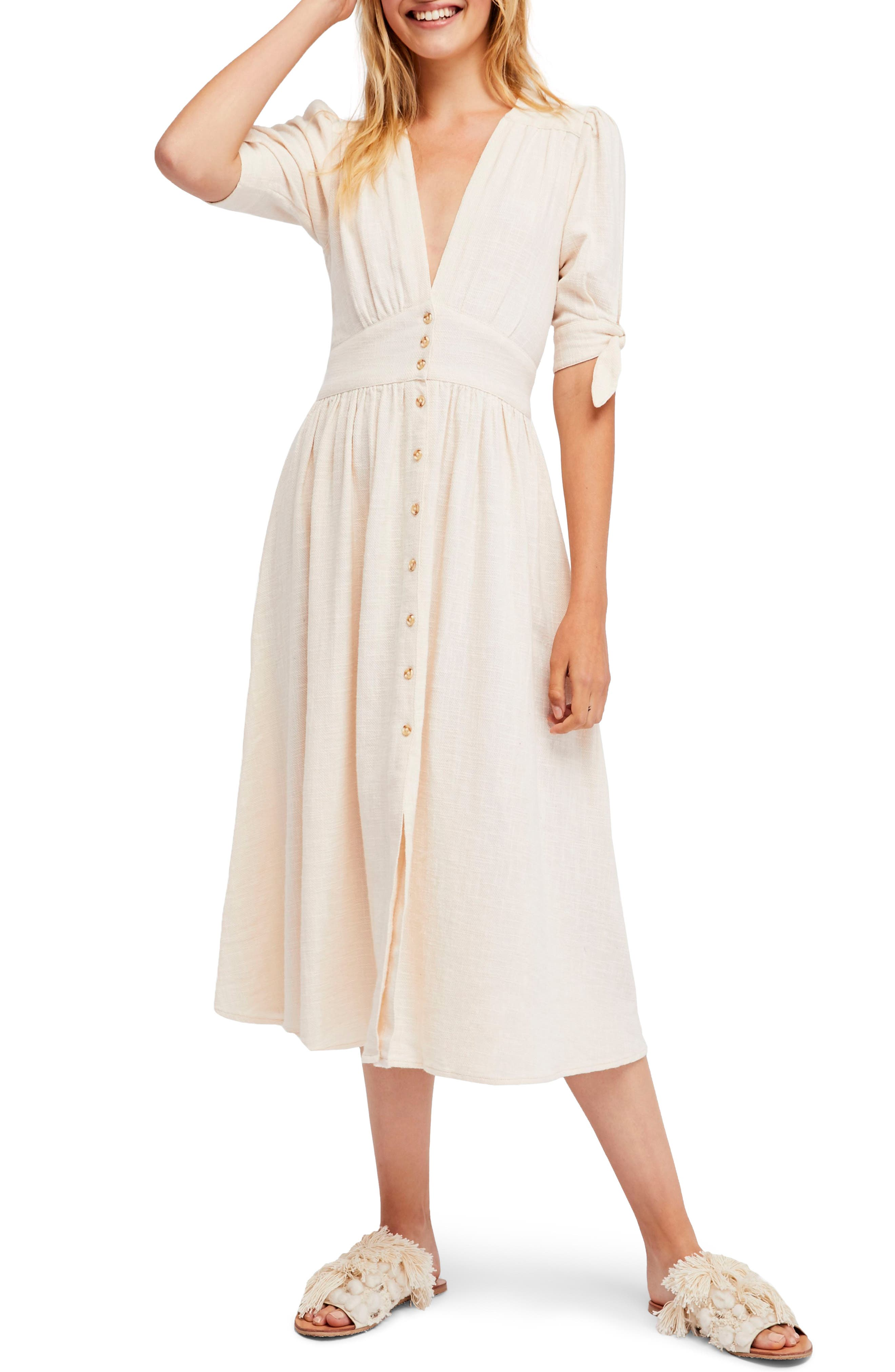 FREE PEOPLE, Love of My Life Midi Dress, Alternate thumbnail 6, color, IVORY