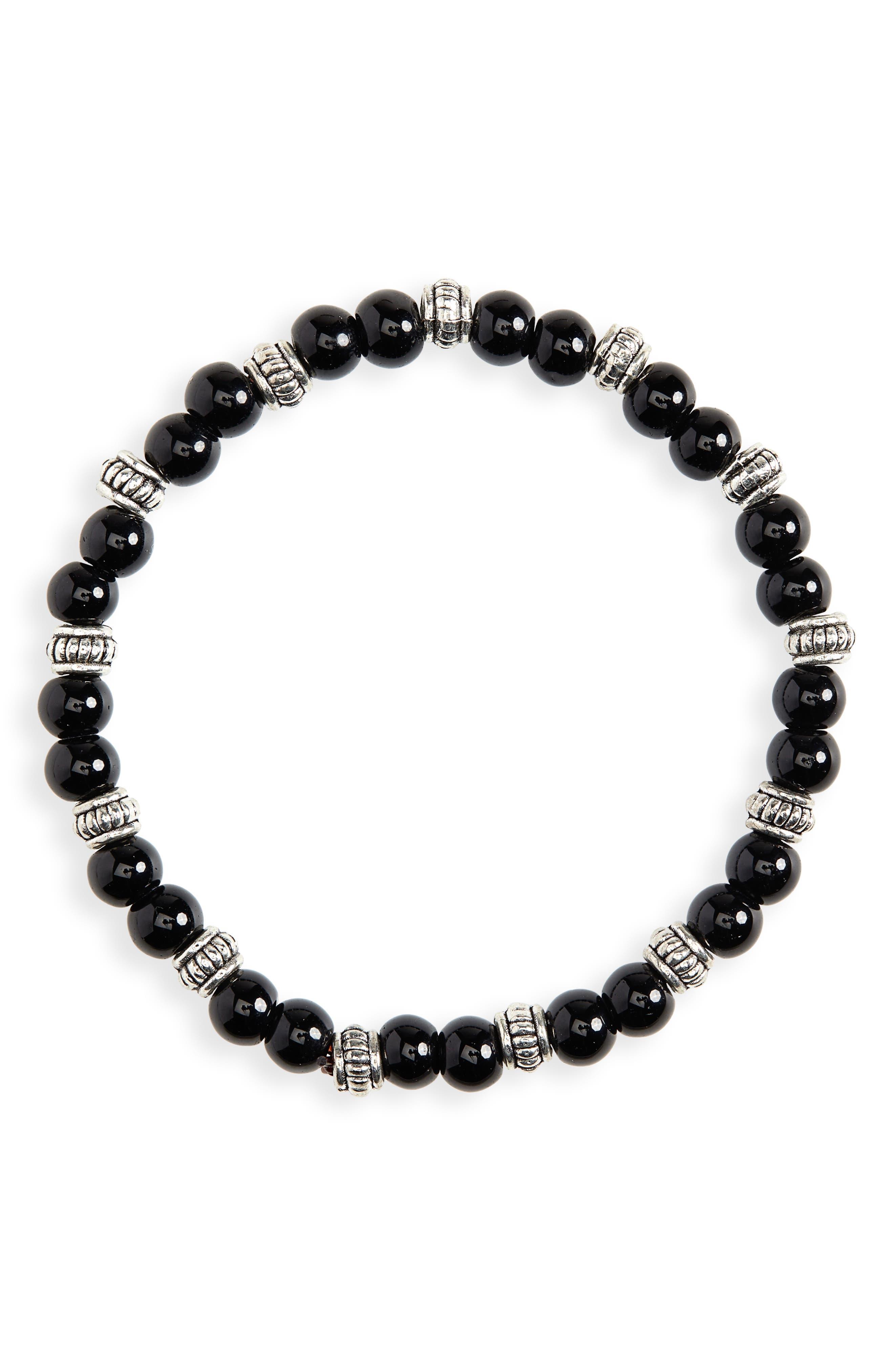 NORDSTROM MEN'S SHOP, Beaded Bracelet, Main thumbnail 1, color, BLACK/ SILVER