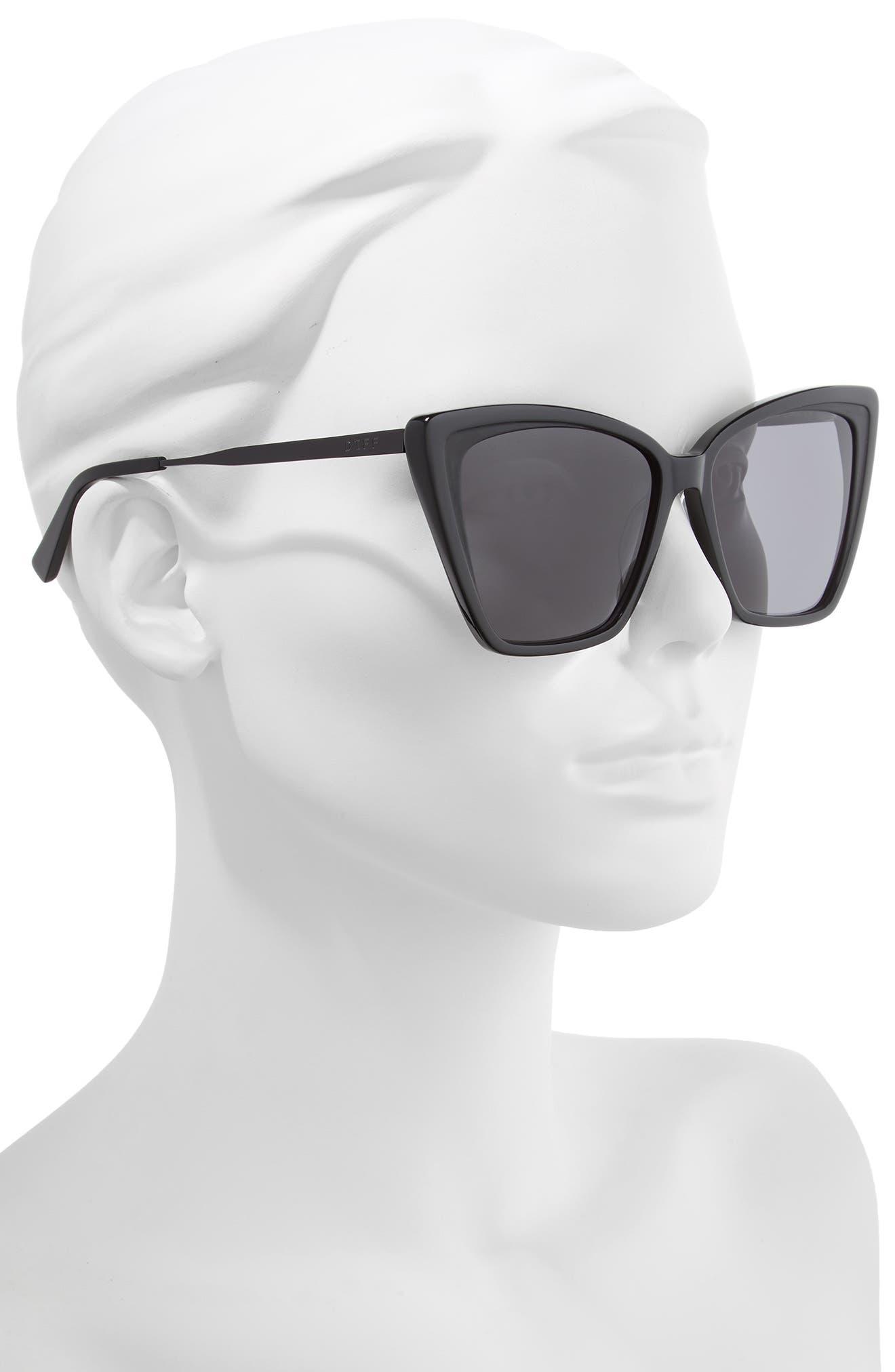 DIFF, Becky II 55mm Cat Eye Sunglasses, Alternate thumbnail 2, color, BLACK/ DARK SMOKE