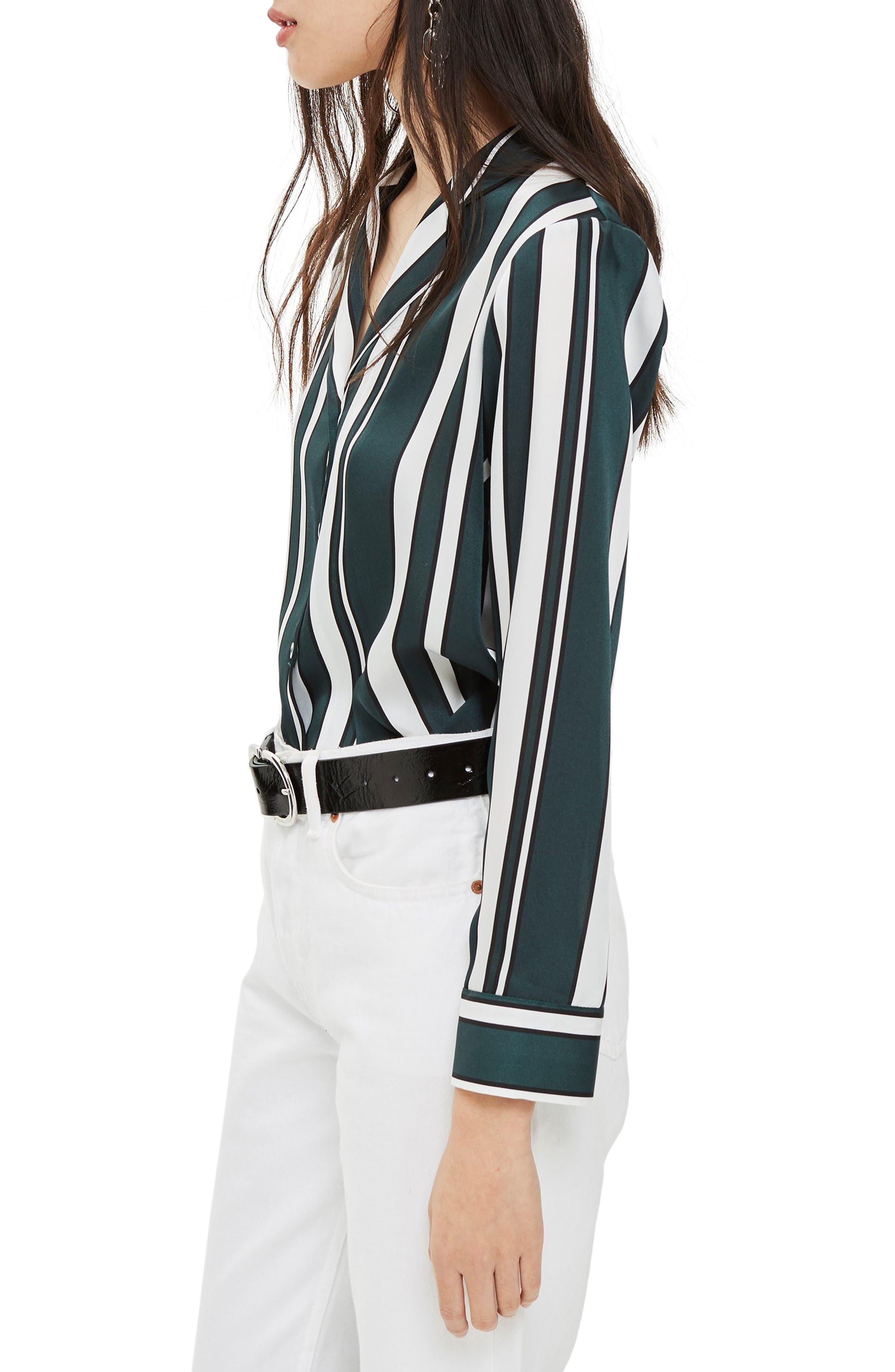 TOPSHOP, Stripe PJ Shirt, Alternate thumbnail 3, color, GREEN MULTI