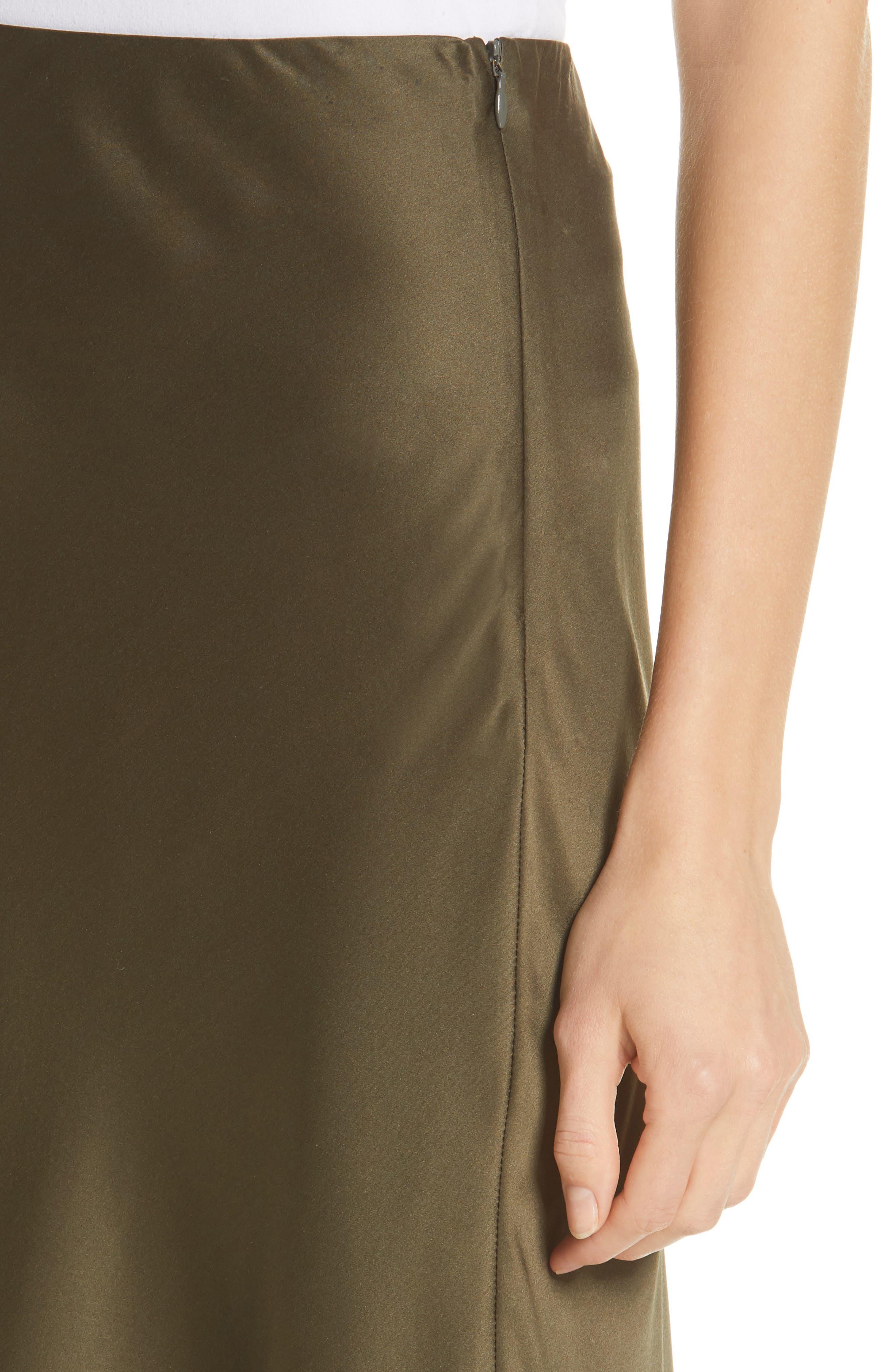 NILI LOTAN, Lane Silk Skirt, Alternate thumbnail 4, color, ARMY GREEN