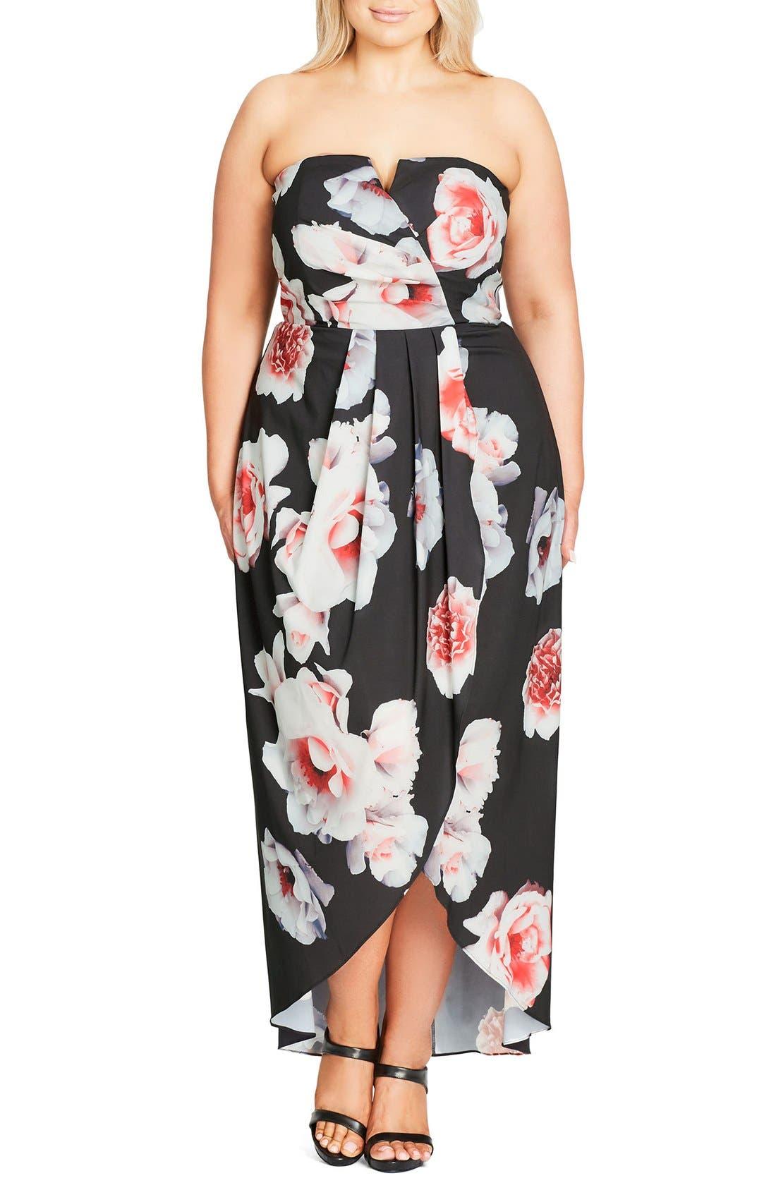 CITY CHIC, 'Open Rose' Print Tulip Hem Maxi Dress, Alternate thumbnail 4, color, 001