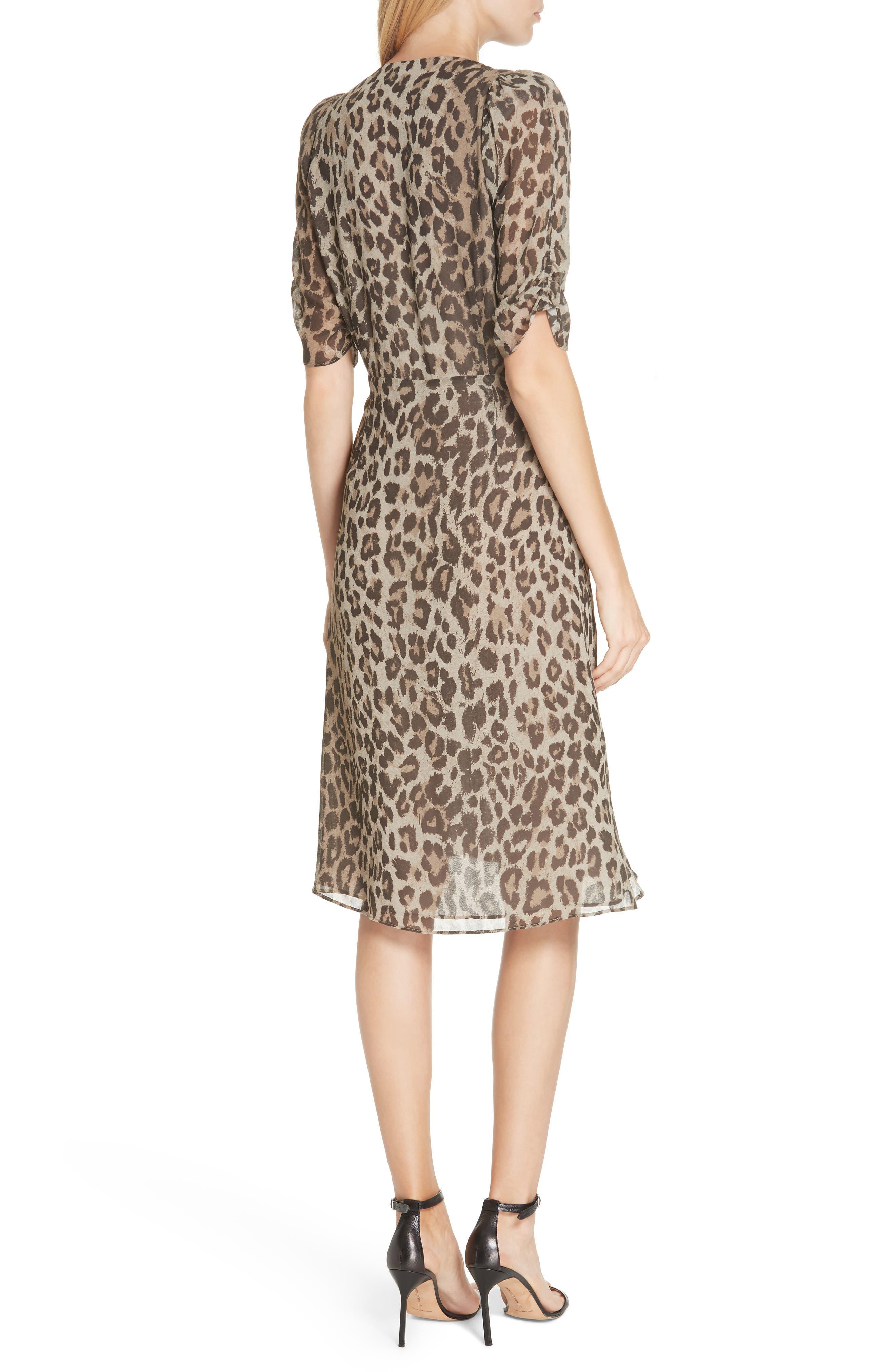 NICHOLAS, Ruched Leopard Print Silk Dress, Alternate thumbnail 2, color, 200
