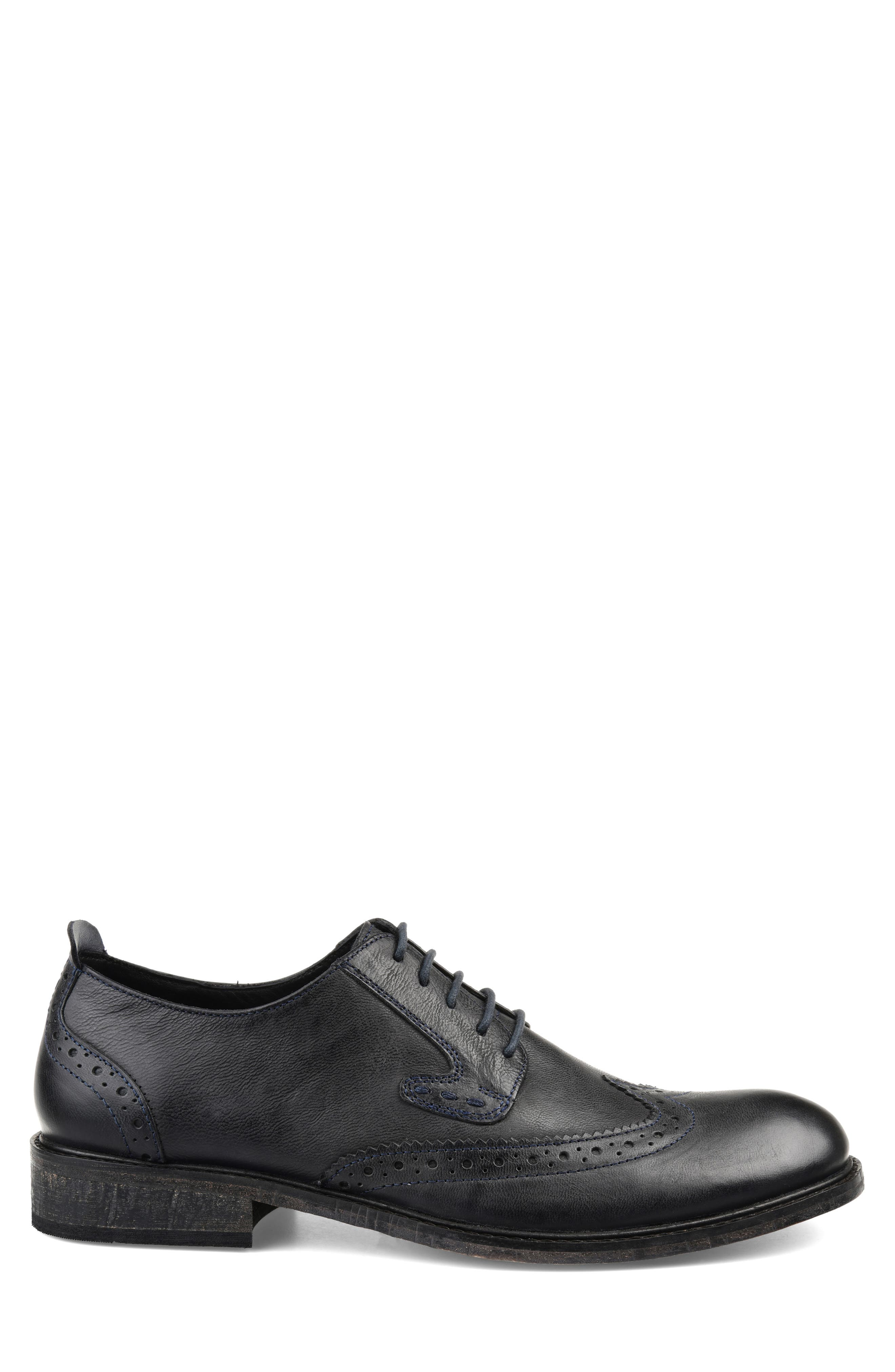 THOMAS AND VINE, Uriah Wingtip Derby, Alternate thumbnail 3, color, BLACK LEATHER