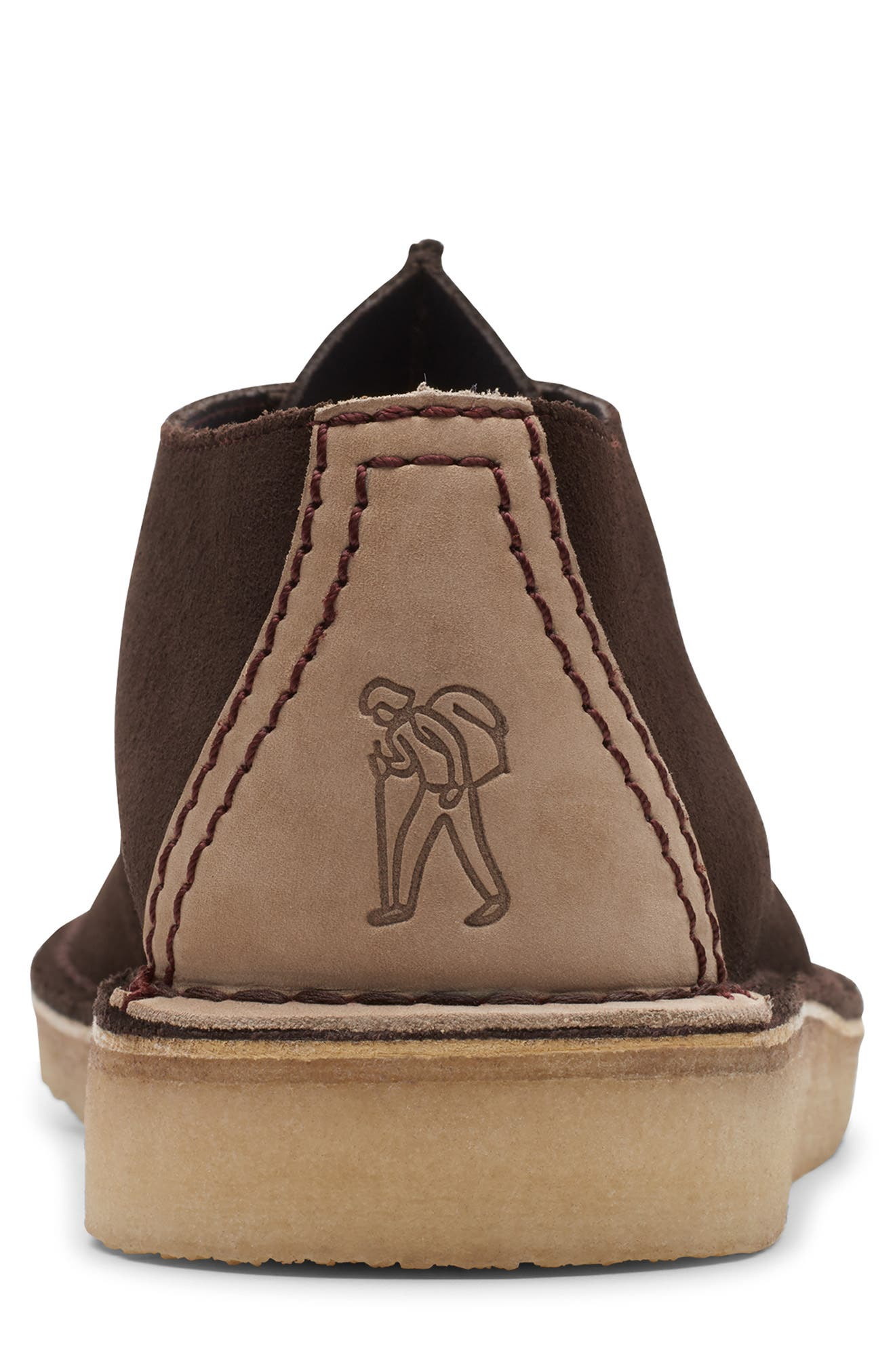 CLARKS<SUP>®</SUP>, Desert Trek Chukka Boot, Alternate thumbnail 4, color, DARK BROWN SUEDE