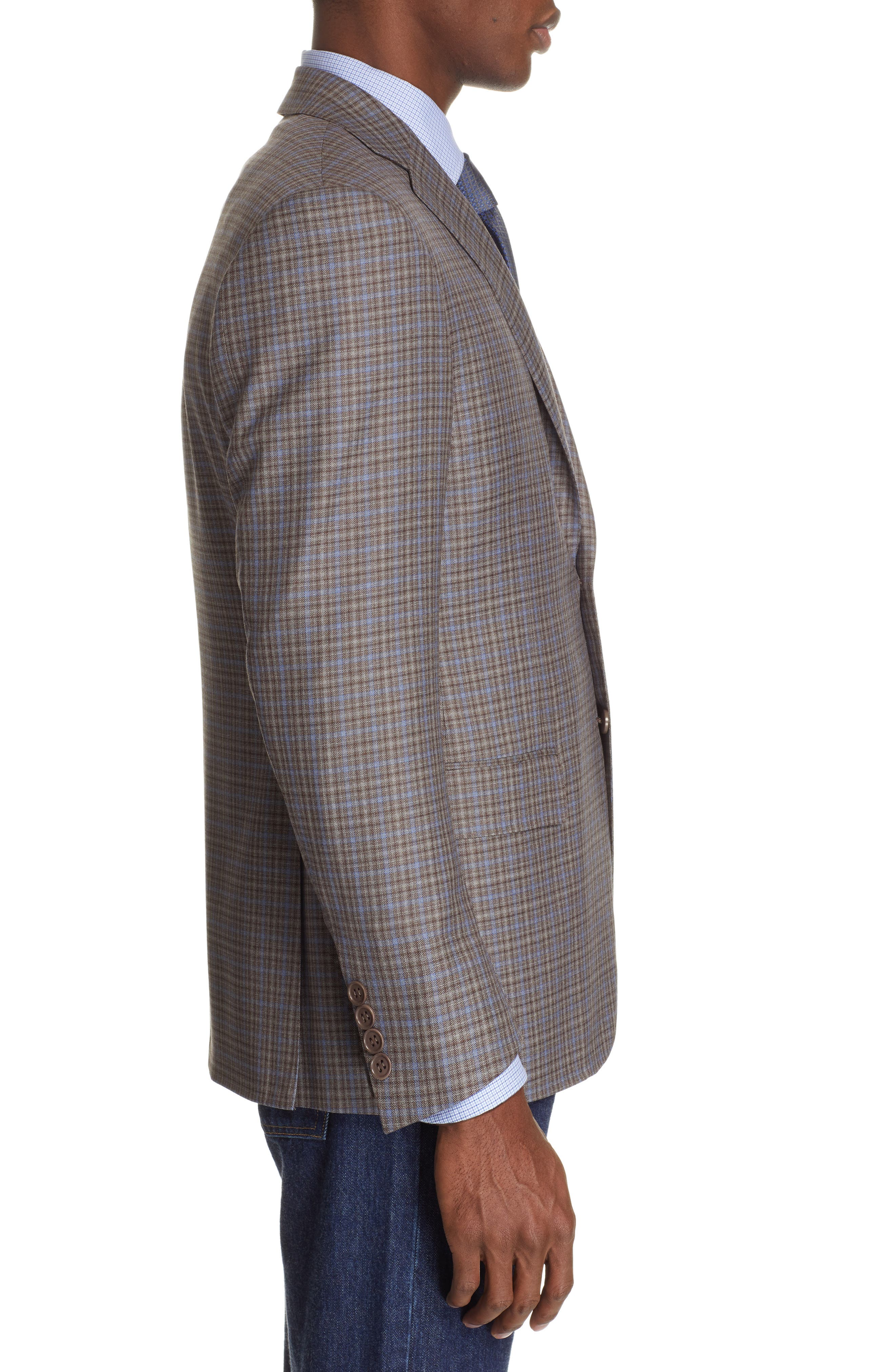 CANALI, Sienna Classic Fit Plaid Wool Sport Coat, Alternate thumbnail 3, color, BROWN