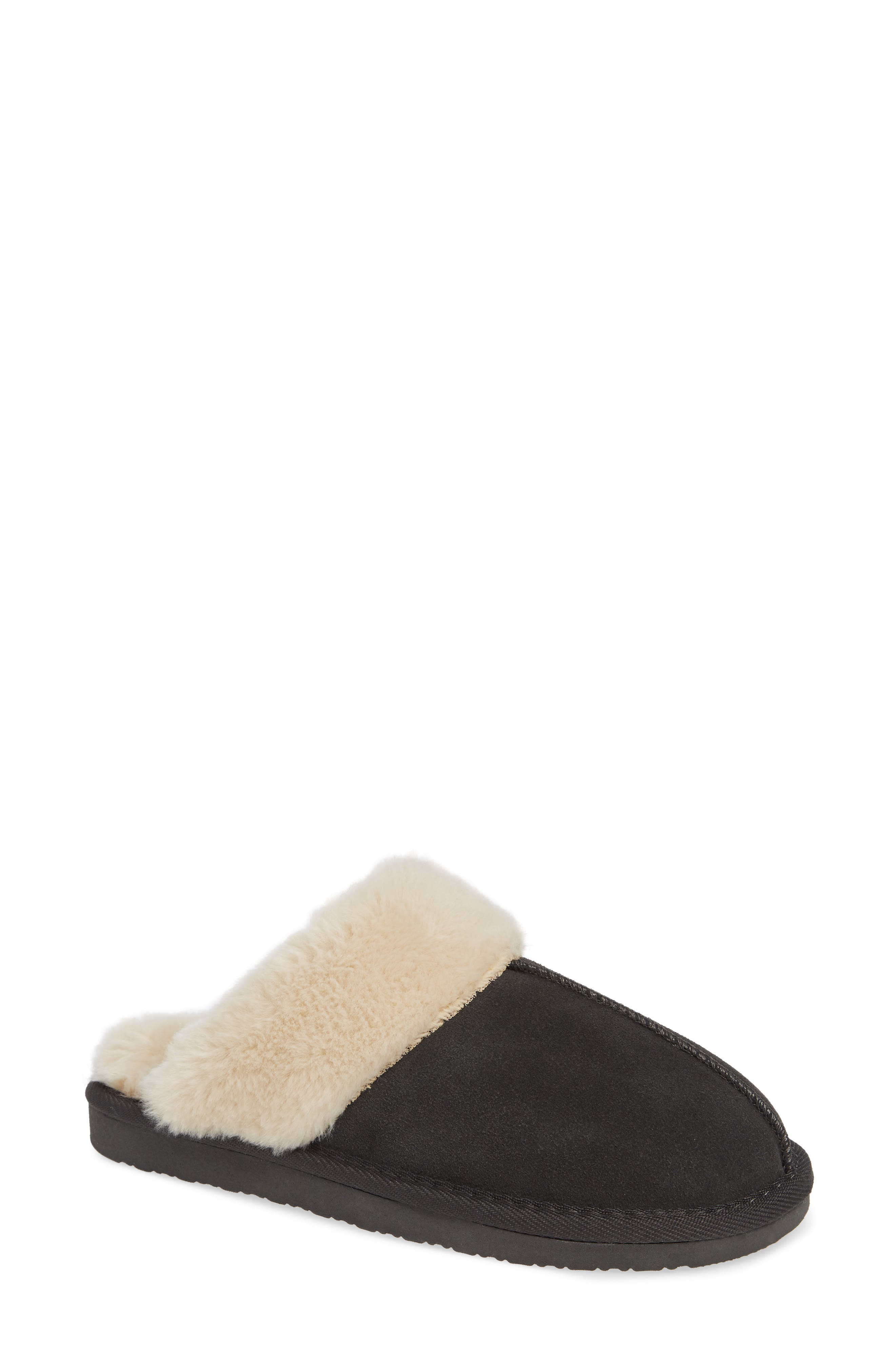 MINNETONKA Mule Slipper, Main, color, CHARCOAL SUEDE