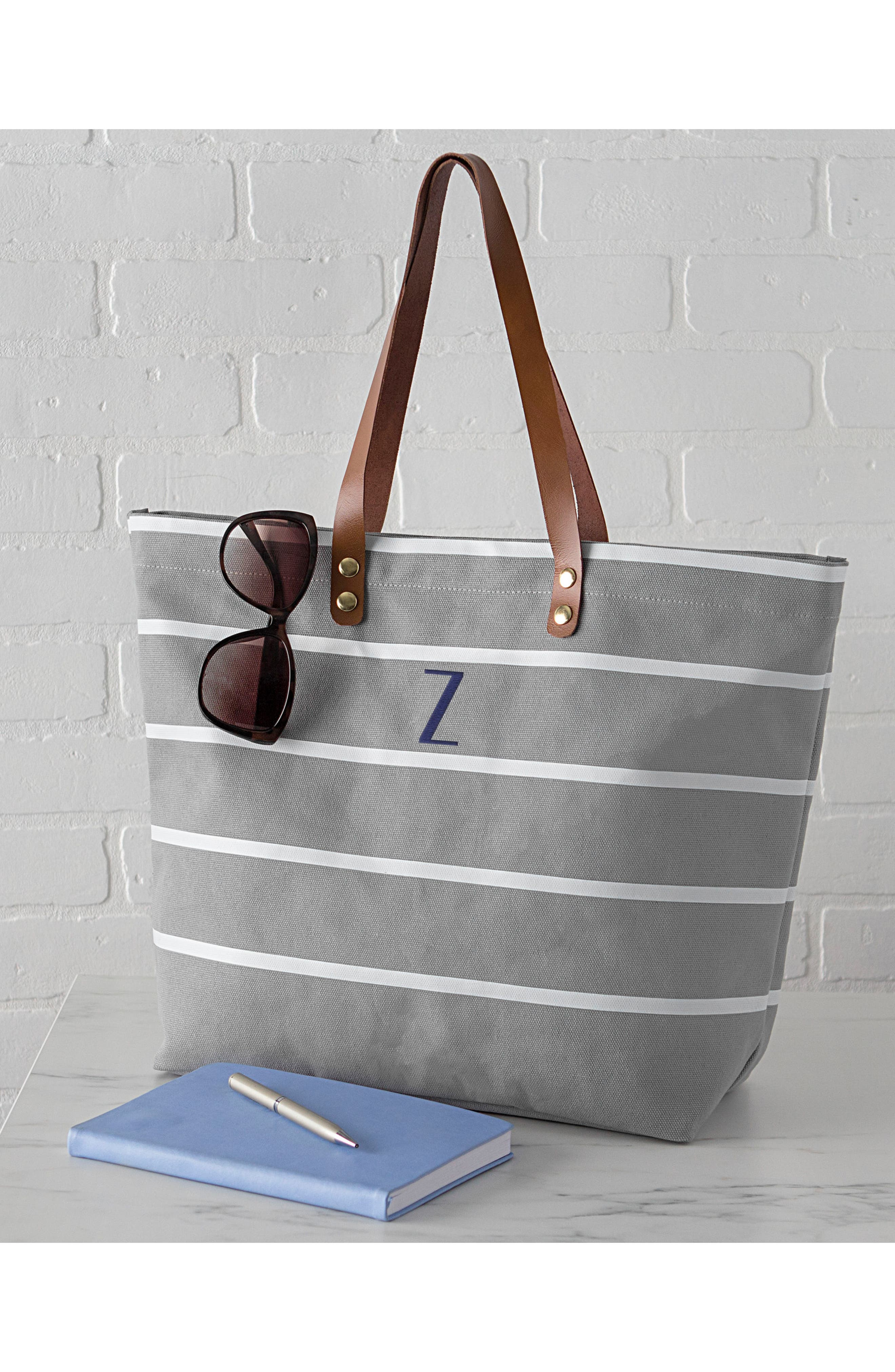 CATHY'S CONCEPTS, Monogram Large Canvas Tote, Alternate thumbnail 8, color, GREY