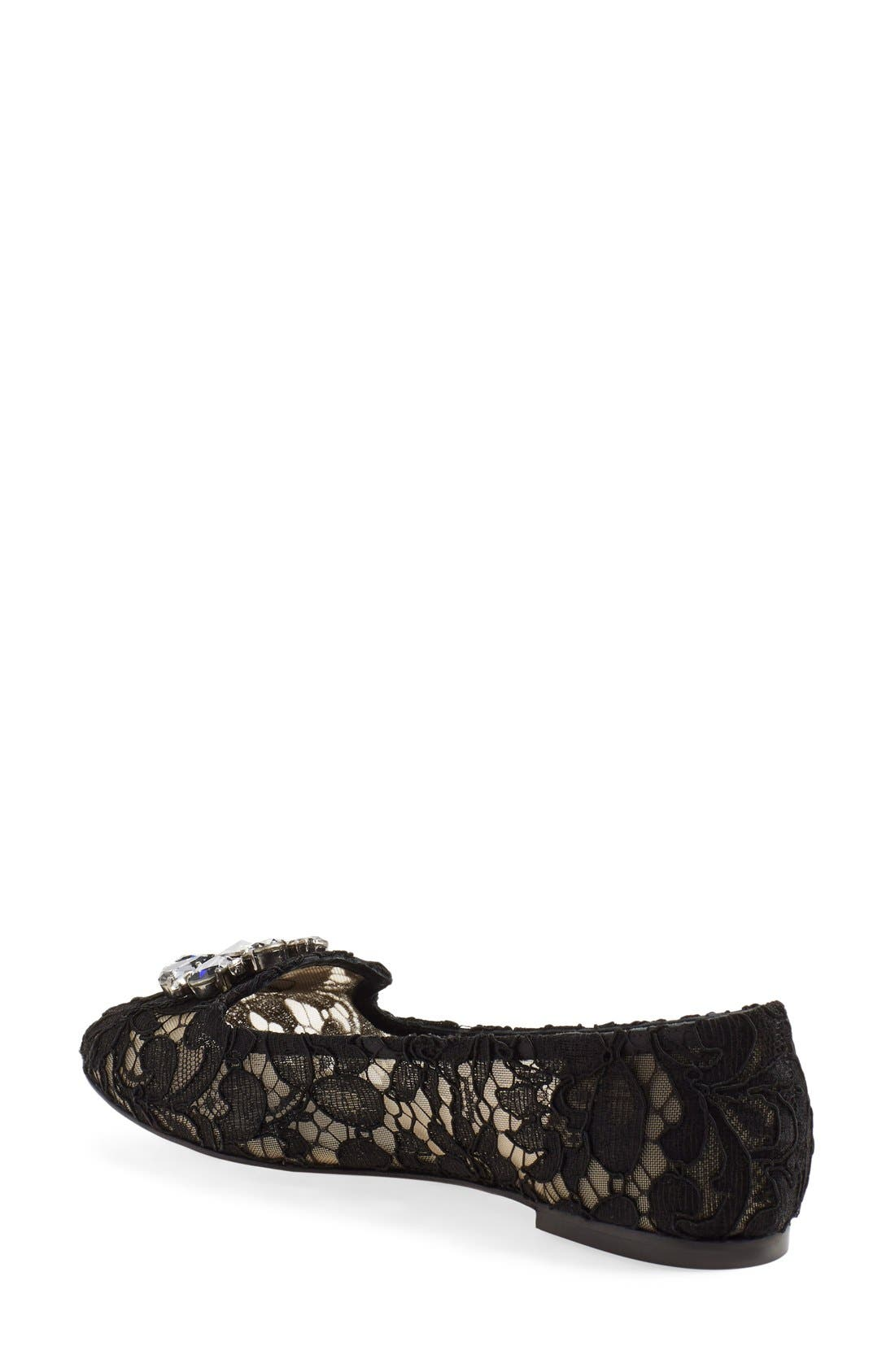 DOLCE&GABBANA, Crystal & Lace Pointy Toe Flat, Alternate thumbnail 4, color, 001