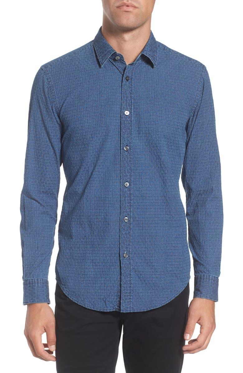 cb4ddd217 BOSS Ronni Slim Fit Dobby Denim Sport Shirt, Main, color, 439