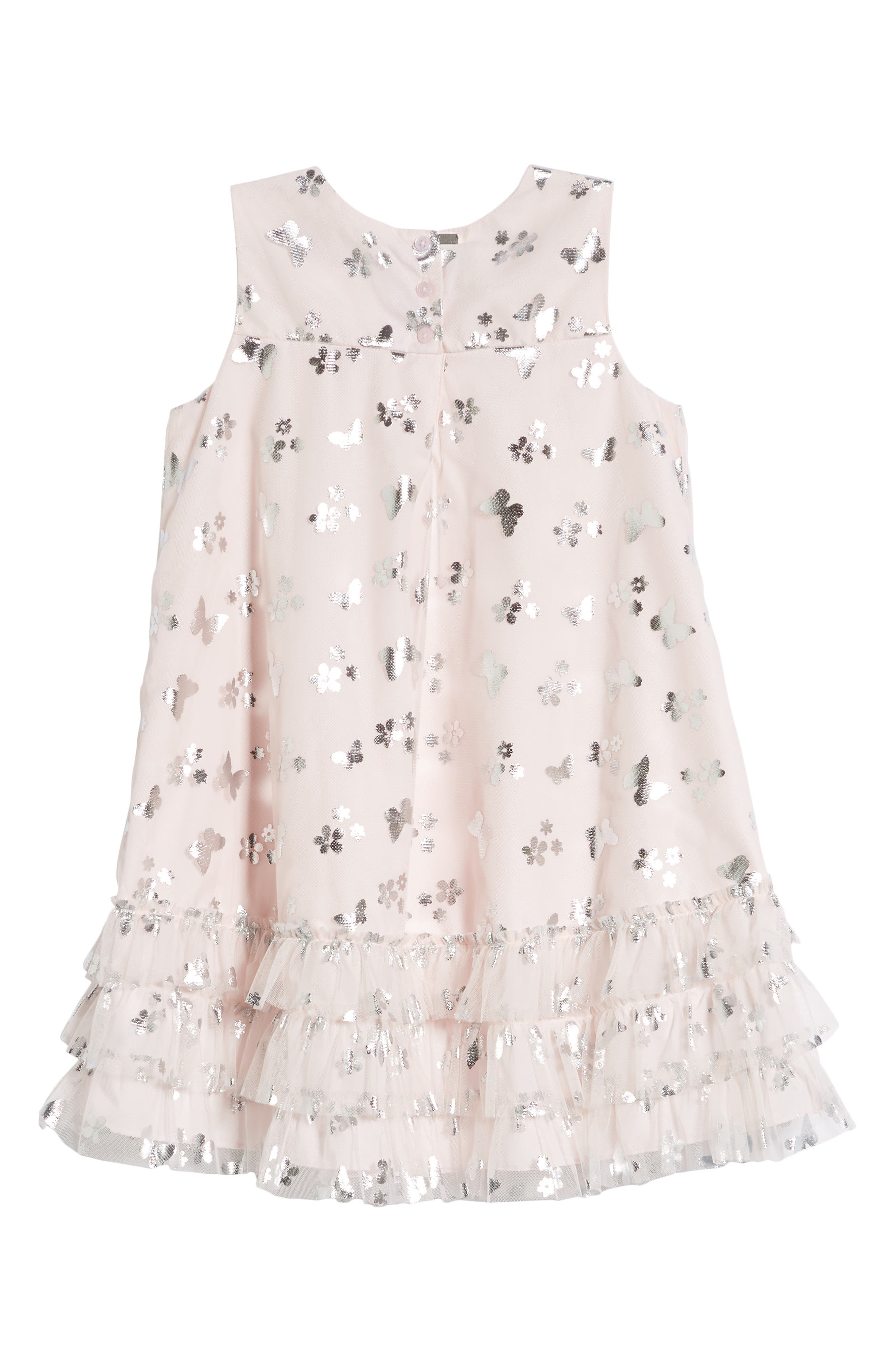 PASTOURELLE BY PIPPA & JULIE, Butterfly Trapeze Dress, Alternate thumbnail 3, color, PINK/ SILVER
