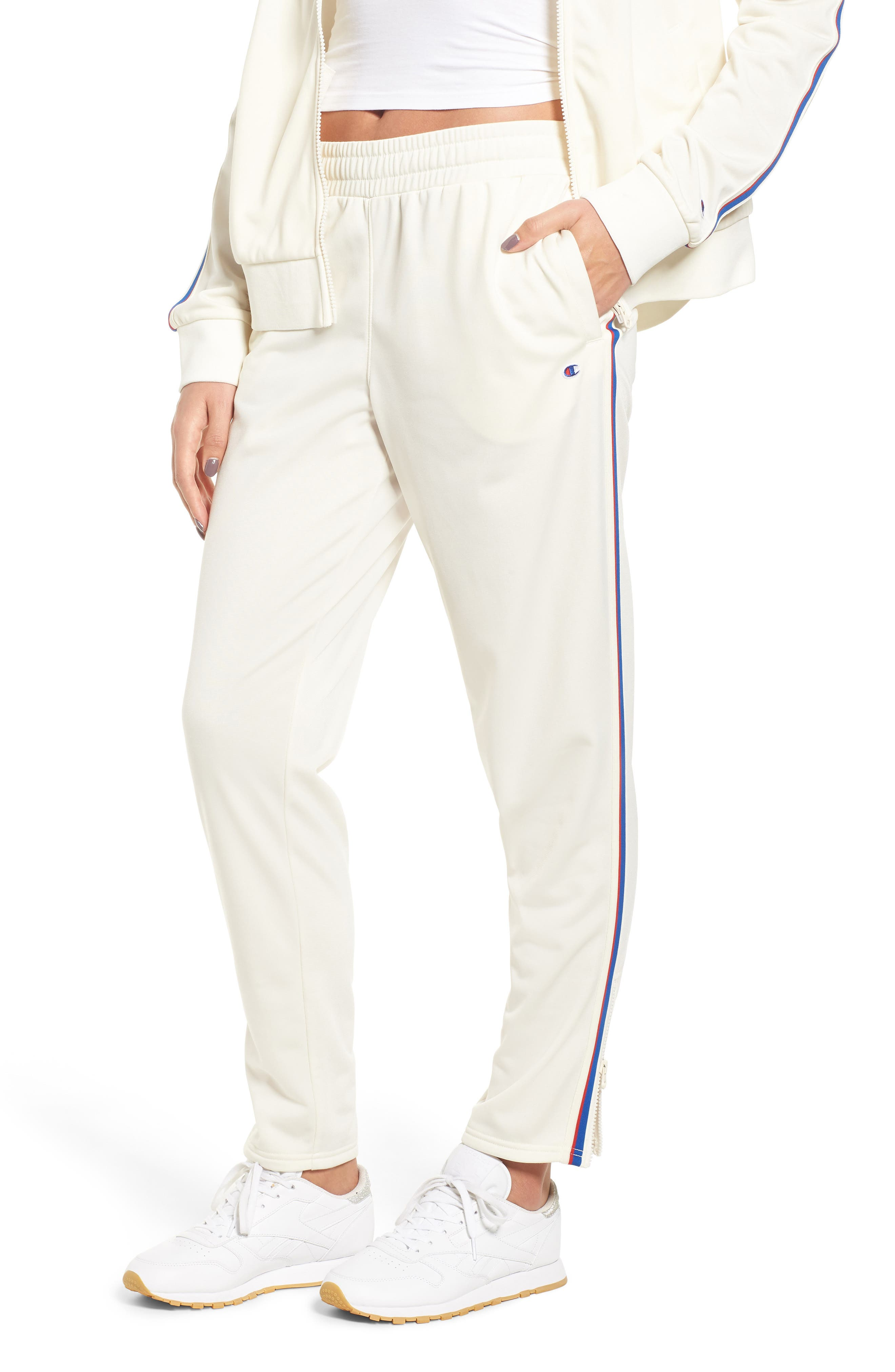 CHAMPION Side Stripe Track Pants, Main, color, CHALK WHITE
