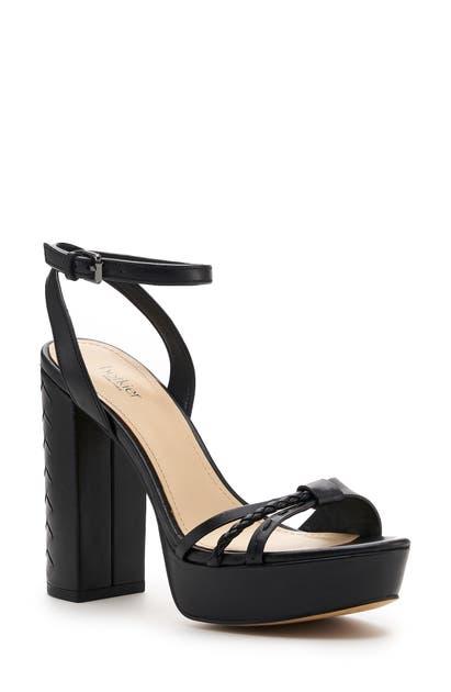 Botkier Petra Ankle Strap Platform Sandal In Black Leather