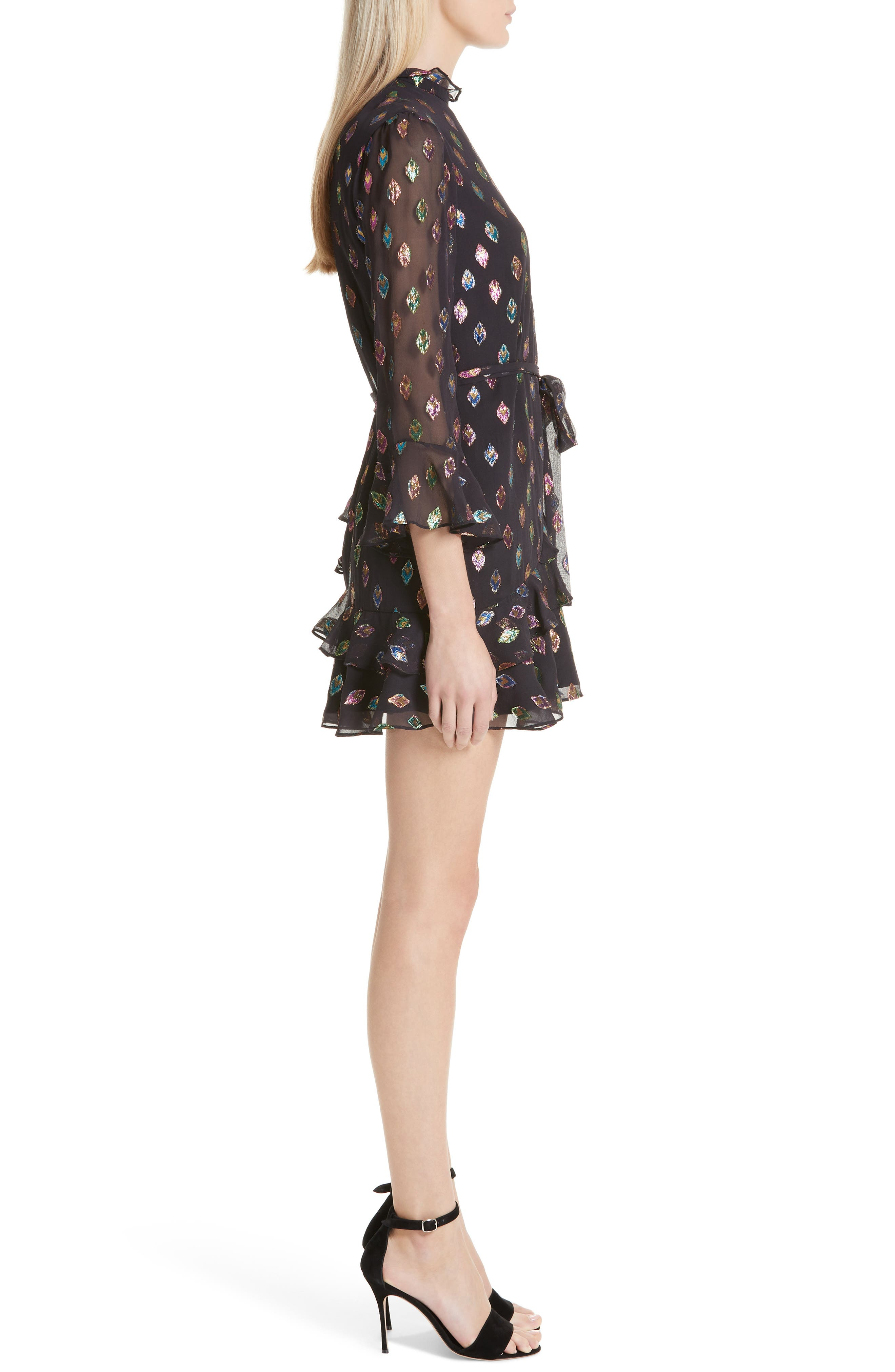 SALONI, Marissa Metallic Fil Coupé Silk Blend Minidress, Alternate thumbnail 3, color, 003