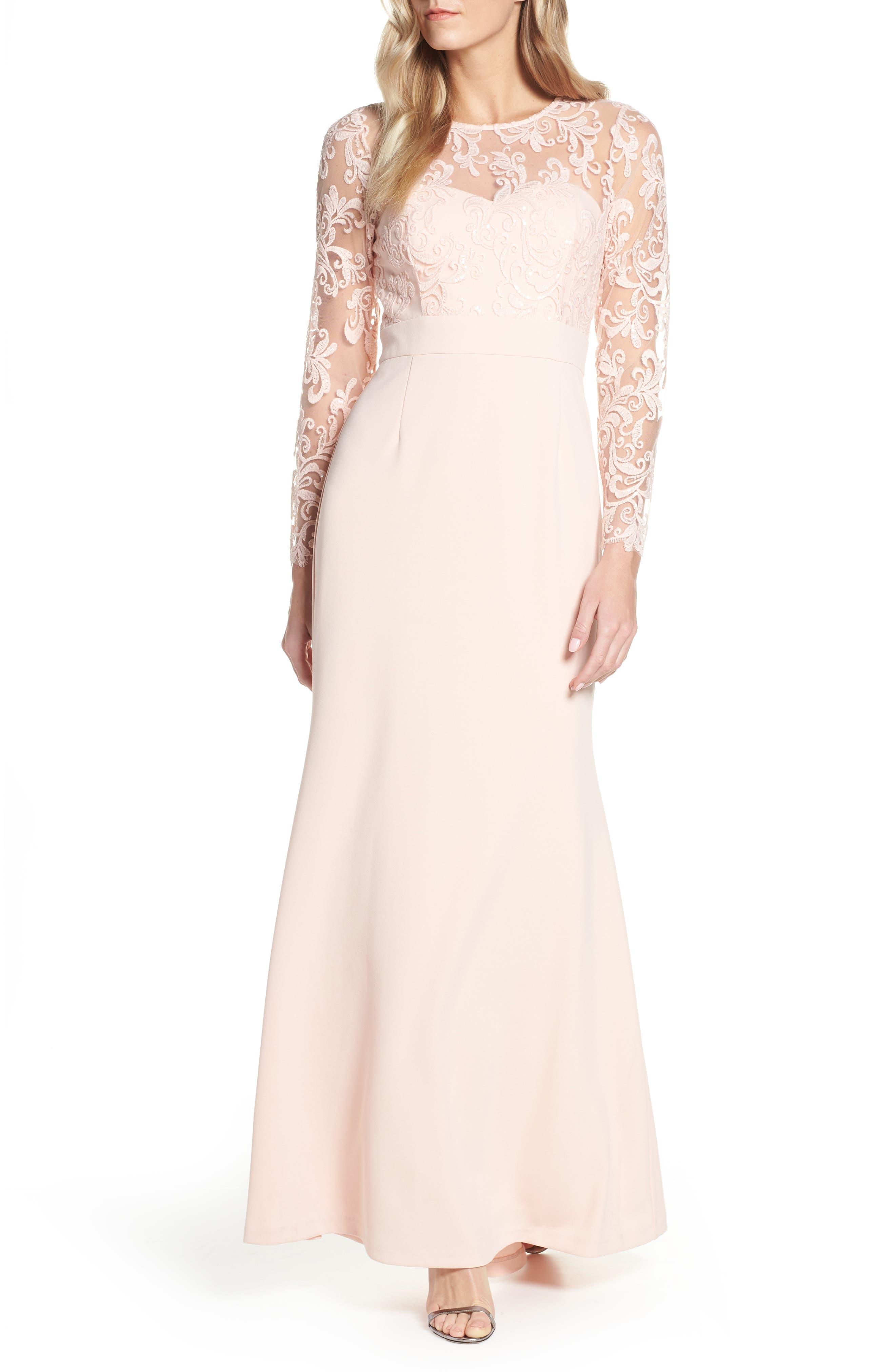 ELIZA J, Embroidered Bodice Crepe Evening Dress, Main thumbnail 1, color, BLUSH