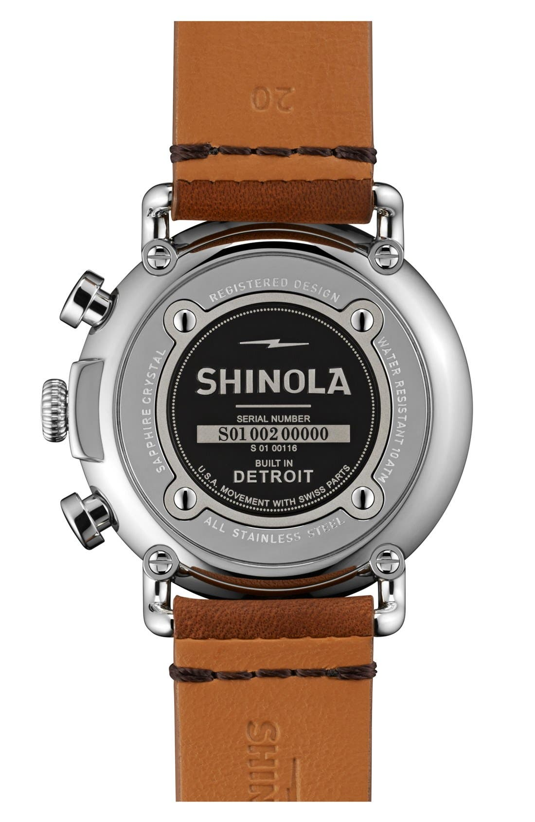 SHINOLA, 'The Runwell Chrono' Leather Strap Watch, 41mm, Alternate thumbnail 5, color, TAN/ BLACK